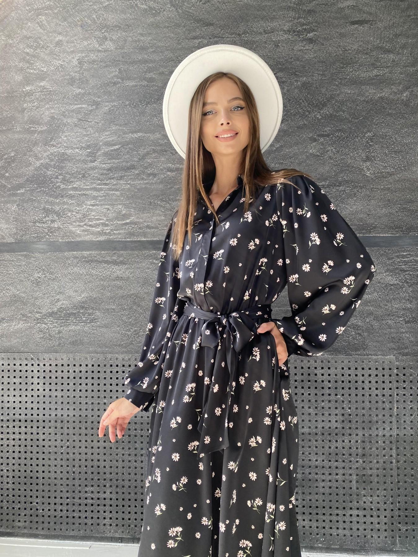 Жасмин д/р шелк принт платье 11716 АРТ. 48417 Цвет: Черный/пудра/хризантема - фото 3, интернет магазин tm-modus.ru