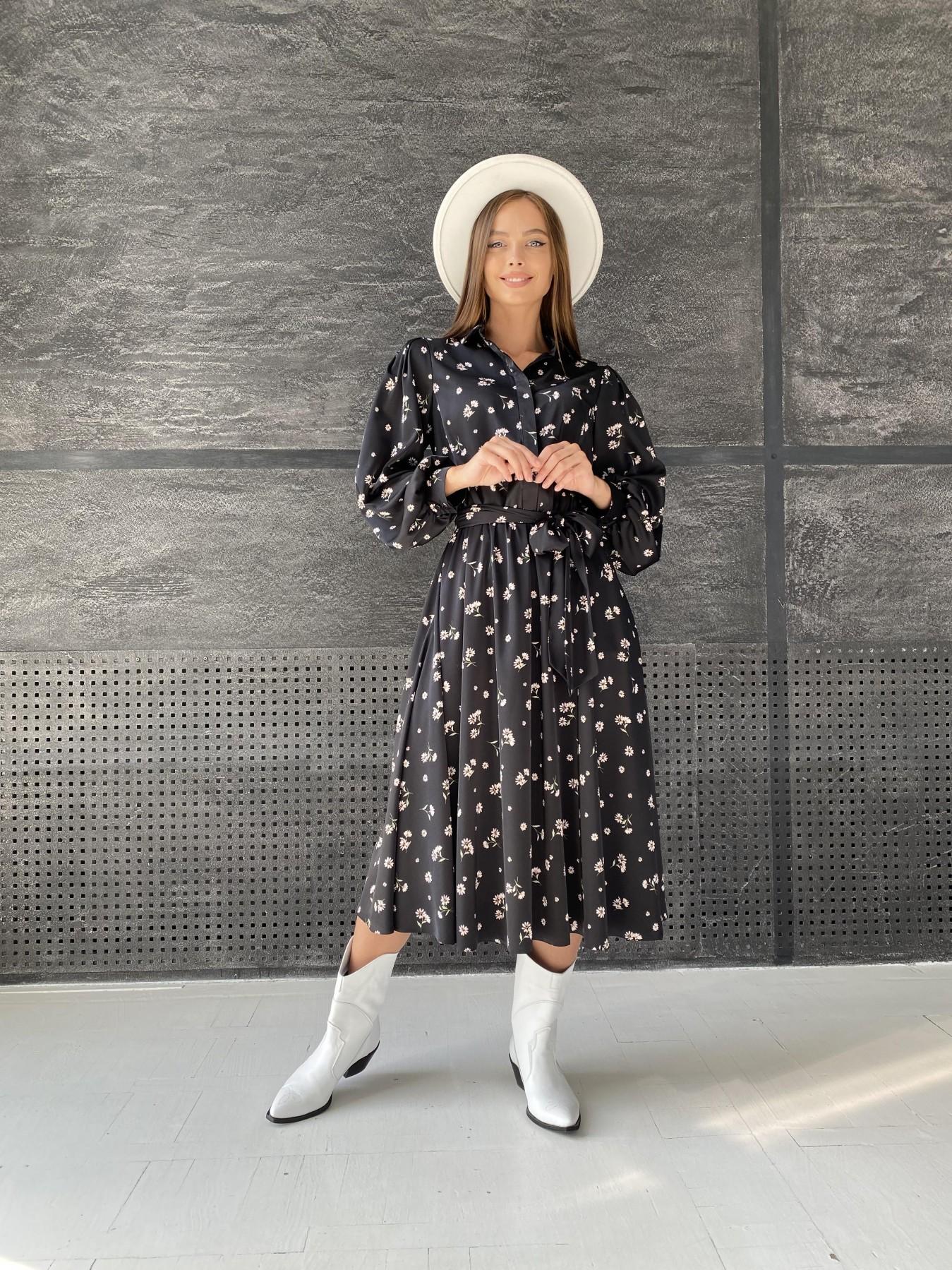 Жасмин д/р шелк принт платье 11716 АРТ. 48417 Цвет: Черный/пудра/хризантема - фото 4, интернет магазин tm-modus.ru