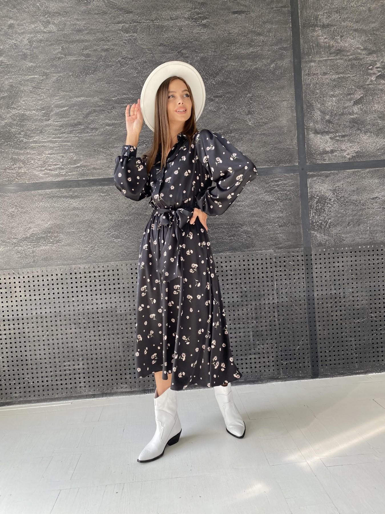 Жасмин д/р шелк принт платье 11716 АРТ. 48417 Цвет: Черный/пудра/хризантема - фото 5, интернет магазин tm-modus.ru