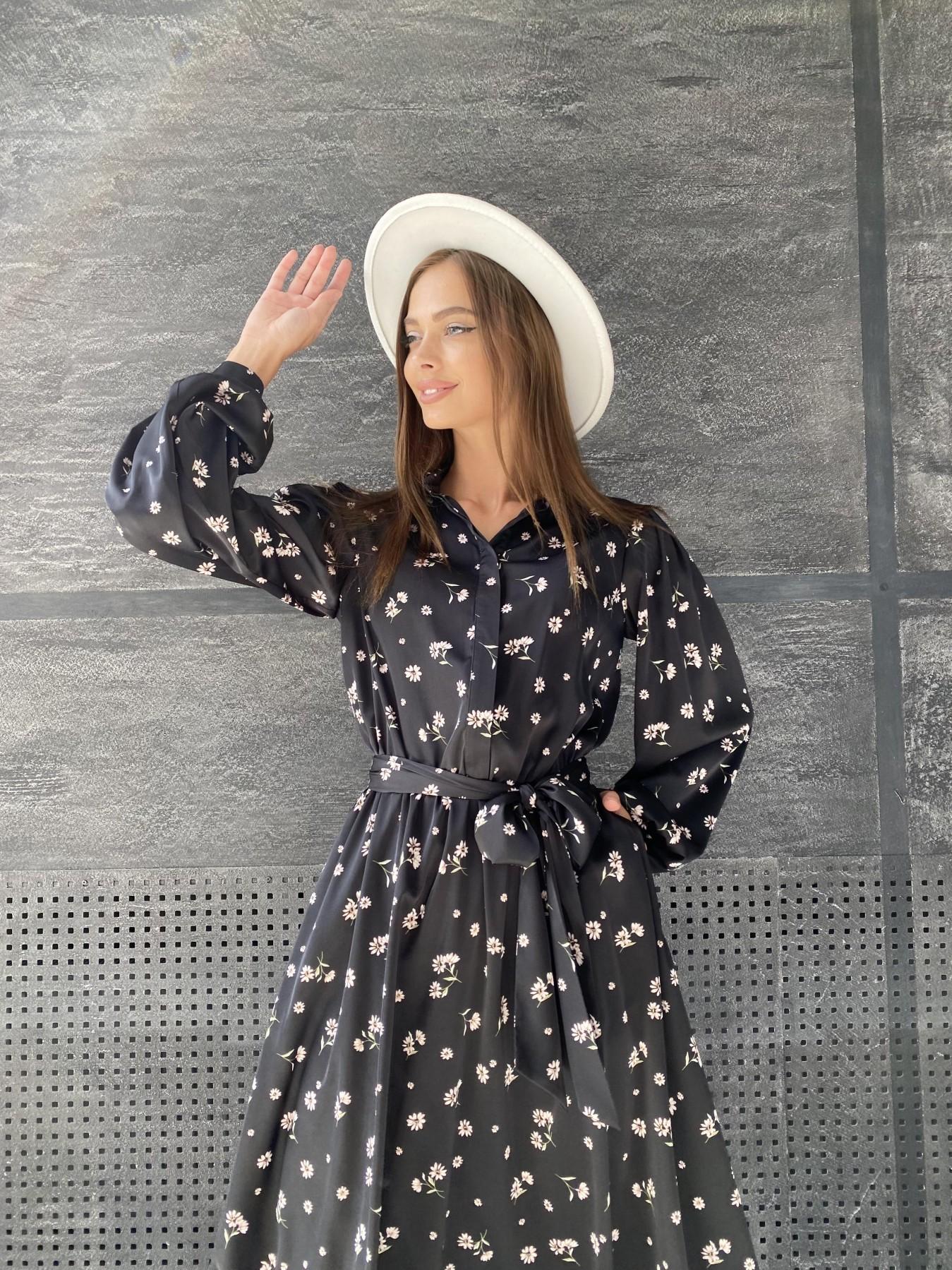 Жасмин д/р шелк принт платье 11716 АРТ. 48417 Цвет: Черный/пудра/хризантема - фото 7, интернет магазин tm-modus.ru