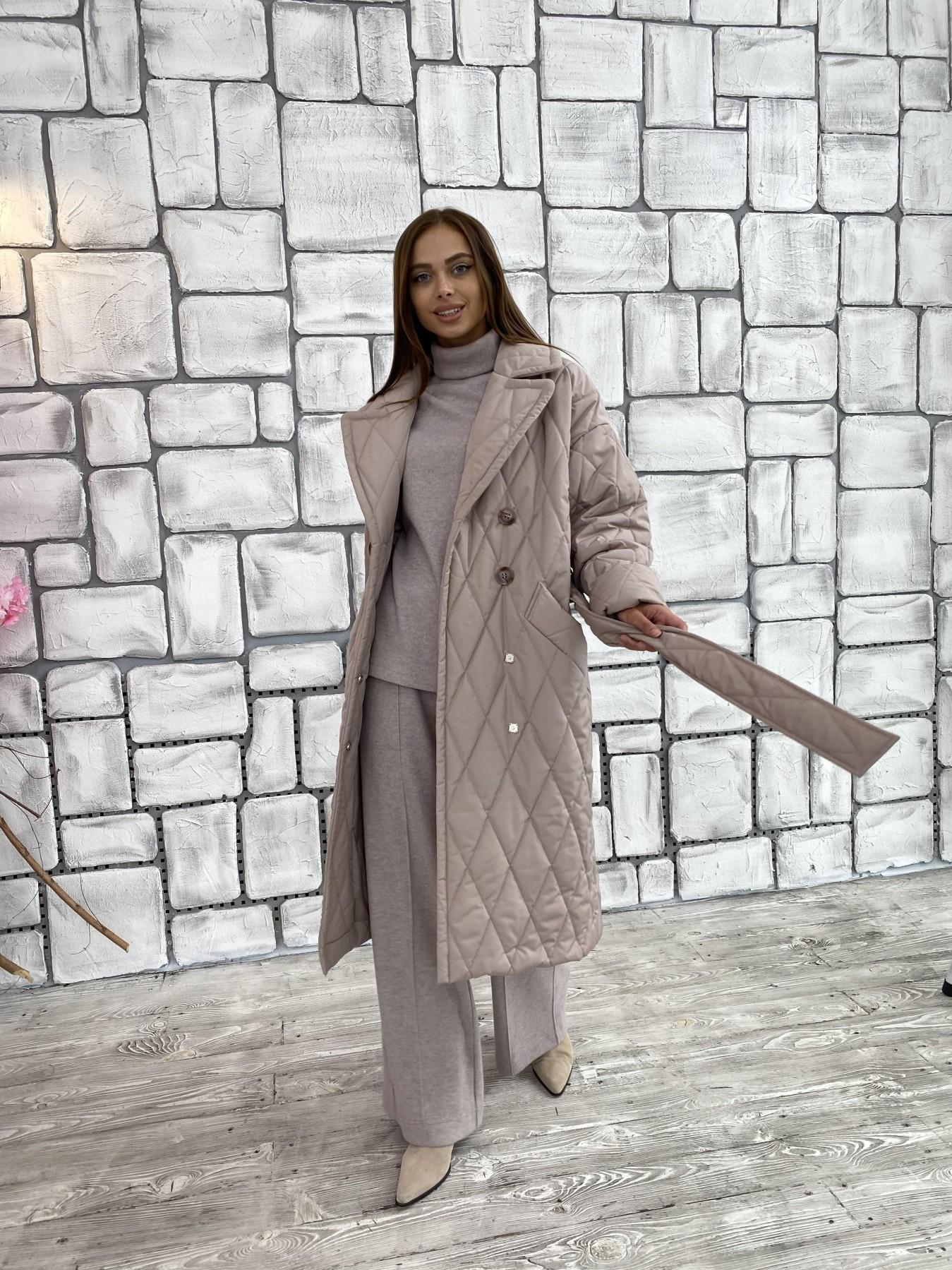 Хаски пальто из стеганой плащевки в ромб 11697 АРТ. 48405 Цвет: Кофе - фото 1, интернет магазин tm-modus.ru
