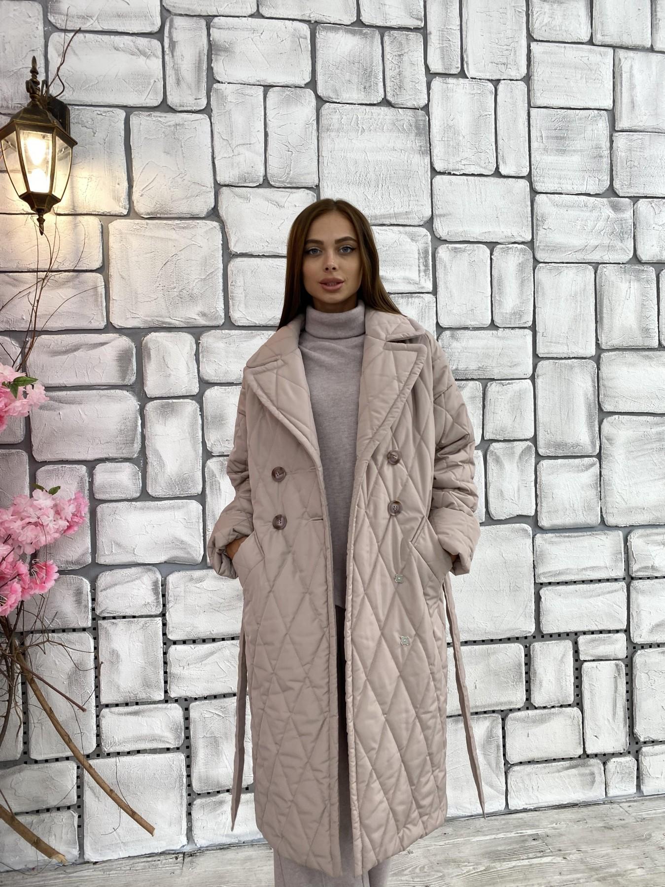Хаски пальто из стеганой плащевки в ромб 11697 АРТ. 48405 Цвет: Кофе - фото 2, интернет магазин tm-modus.ru
