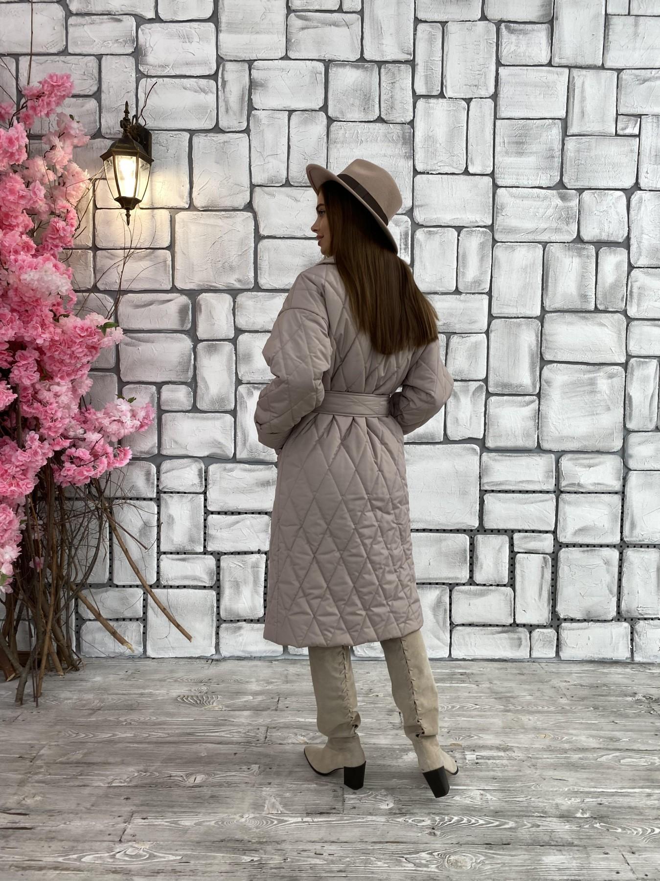 Хаски пальто из стеганой плащевки в ромб 11697 АРТ. 48405 Цвет: Кофе - фото 3, интернет магазин tm-modus.ru