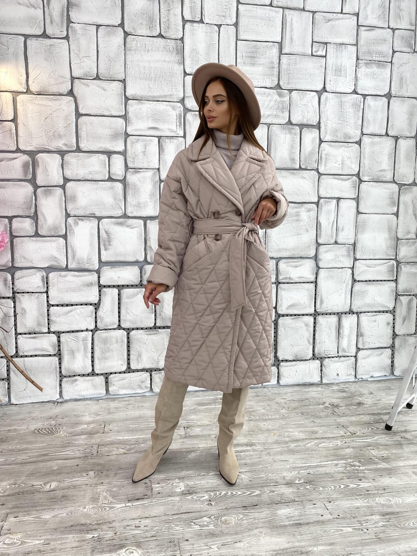 Хаски пальто из стеганой плащевки в ромб 11697 АРТ. 48405 Цвет: Кофе - фото 5, интернет магазин tm-modus.ru