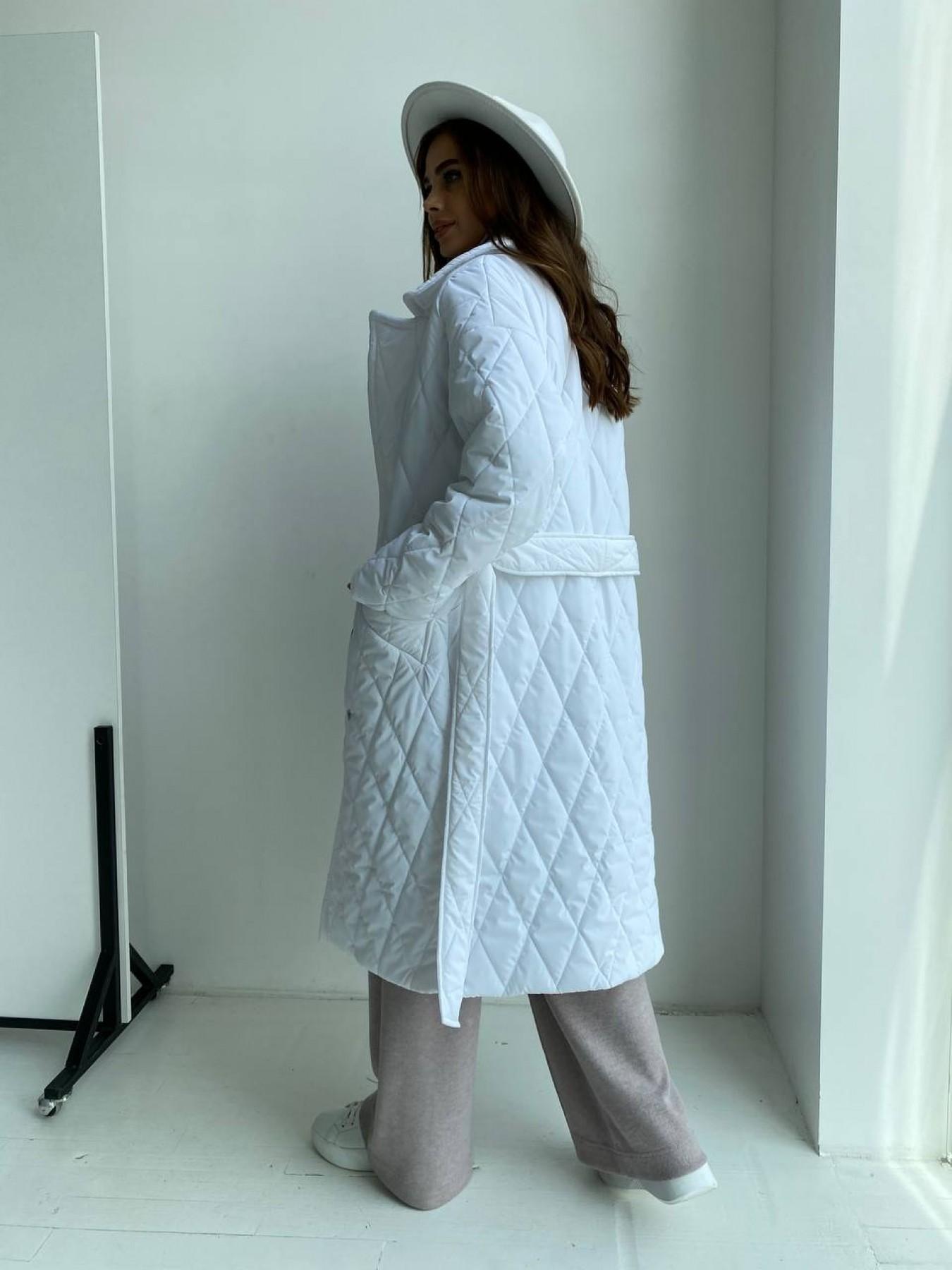 Хаски пальто из стеганой плащевки в ромб 11697 АРТ. 48514 Цвет: Молоко 12 - фото 4, интернет магазин tm-modus.ru