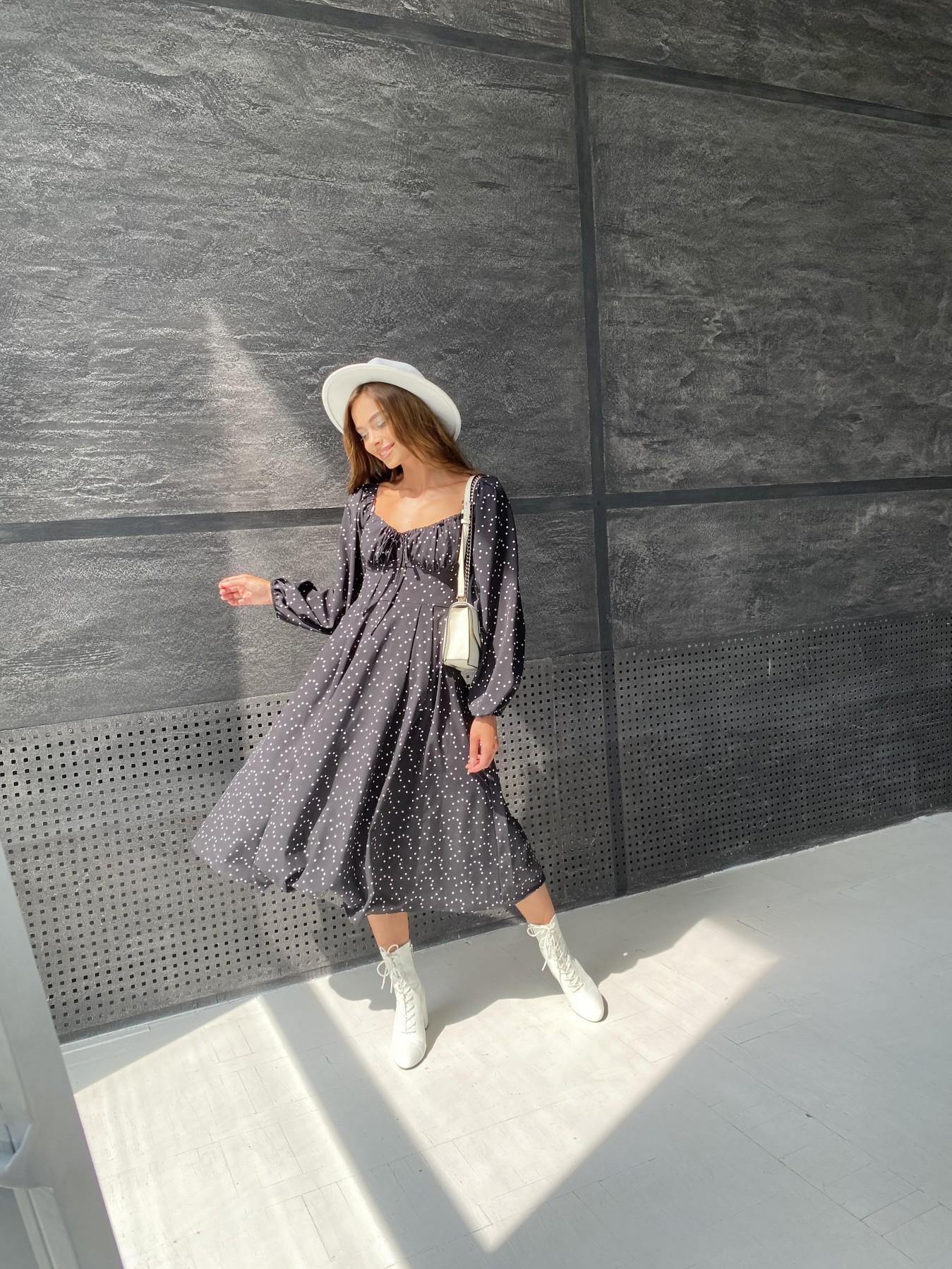 Кисес миди д/р софт принт стрейч платье 11732 АРТ. 48431 Цвет: Черный/Молоко/ГорохМел - фото 2, интернет магазин tm-modus.ru