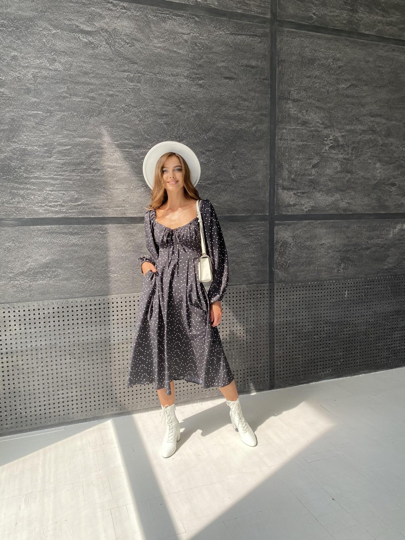 Кисес миди д/р софт принт стрейч платье 11732 АРТ. 48431 Цвет: Черный/Молоко/ГорохМел - фото 3, интернет магазин tm-modus.ru