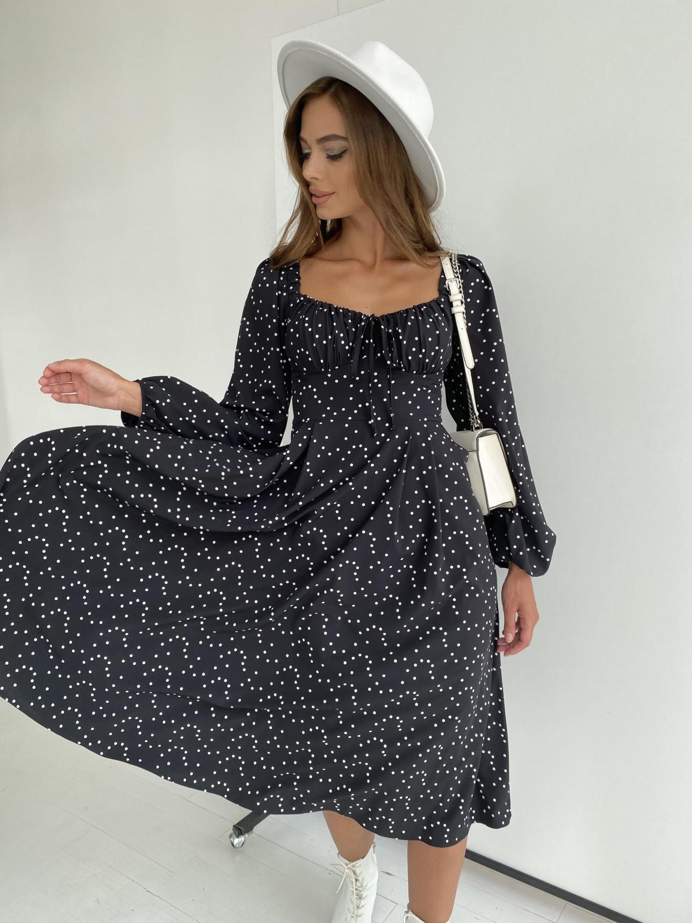Кисес миди д/р софт принт стрейч платье 11732 АРТ. 48431 Цвет: Черный/Молоко/ГорохМел - фото 4, интернет магазин tm-modus.ru