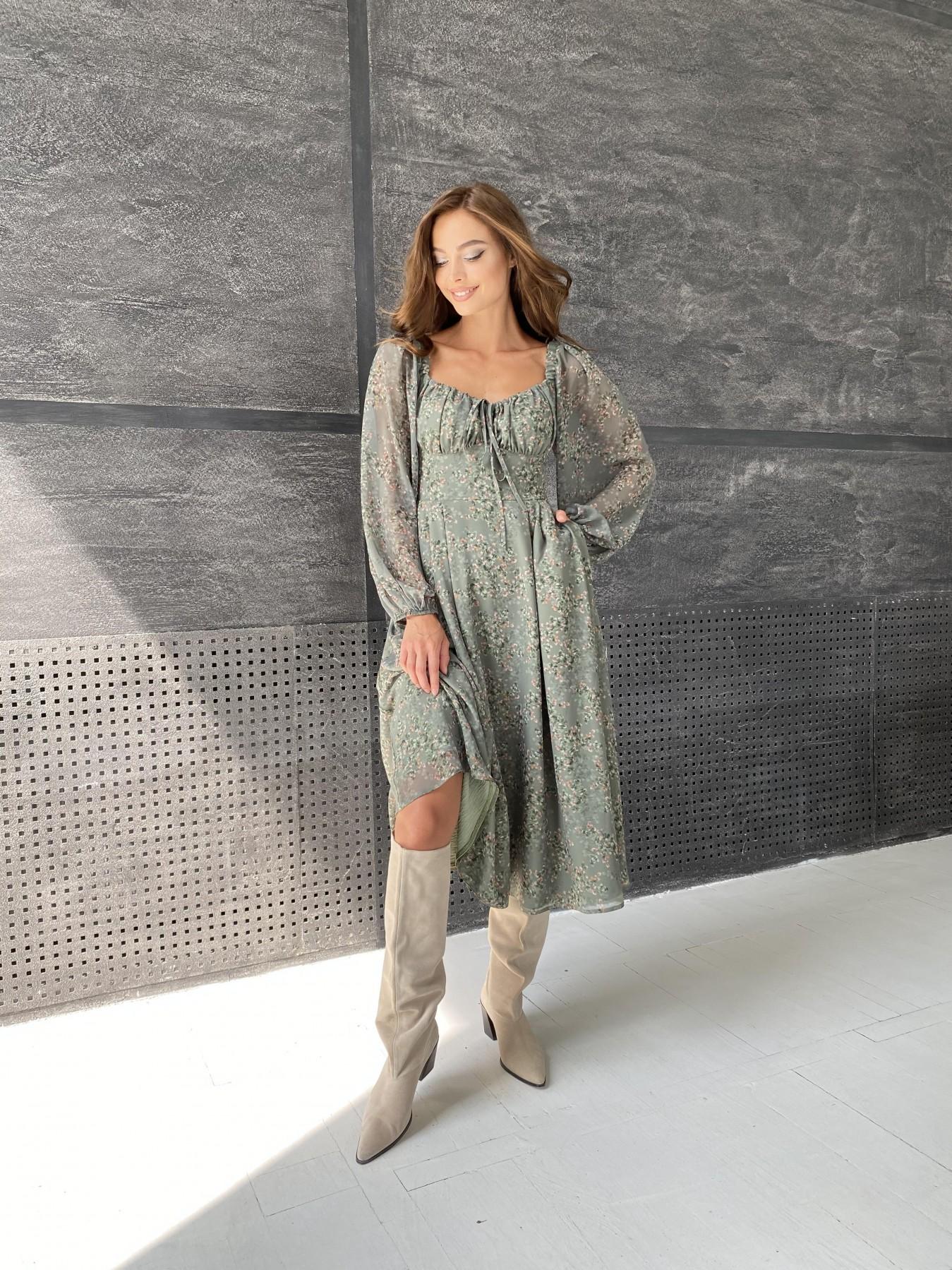 Кисес платье из шифона с цветочным принтом 11774 АРТ. 48507 Цвет: Зеленый/ЦветыНаВетке - фото 2, интернет магазин tm-modus.ru