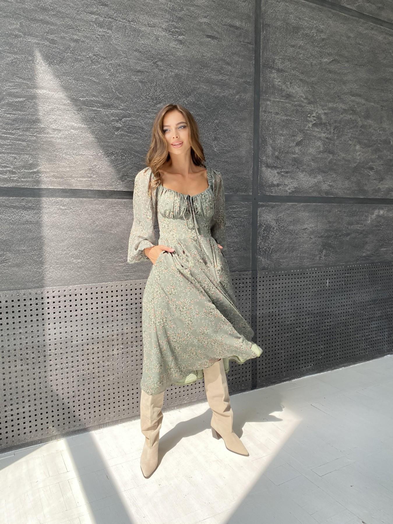 Кисес платье из шифона с цветочным принтом 11774 АРТ. 48507 Цвет: Зеленый/ЦветыНаВетке - фото 3, интернет магазин tm-modus.ru