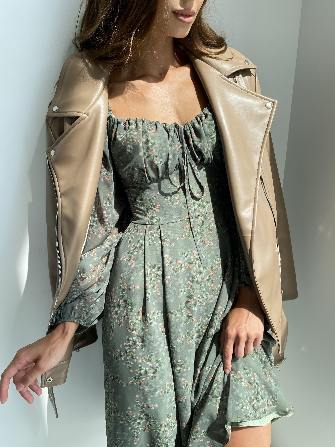 Кисес платье из шифона с цветочным принтом 11774 АРТ. 48507 Цвет: Зеленый/ЦветыНаВетке - фото 4, интернет магазин tm-modus.ru