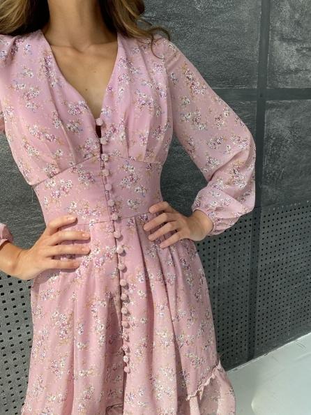 """Купить """"Смузи"""" платья из шифона с цветочным принтом длины миди 11782 оптом и в розницу"""
