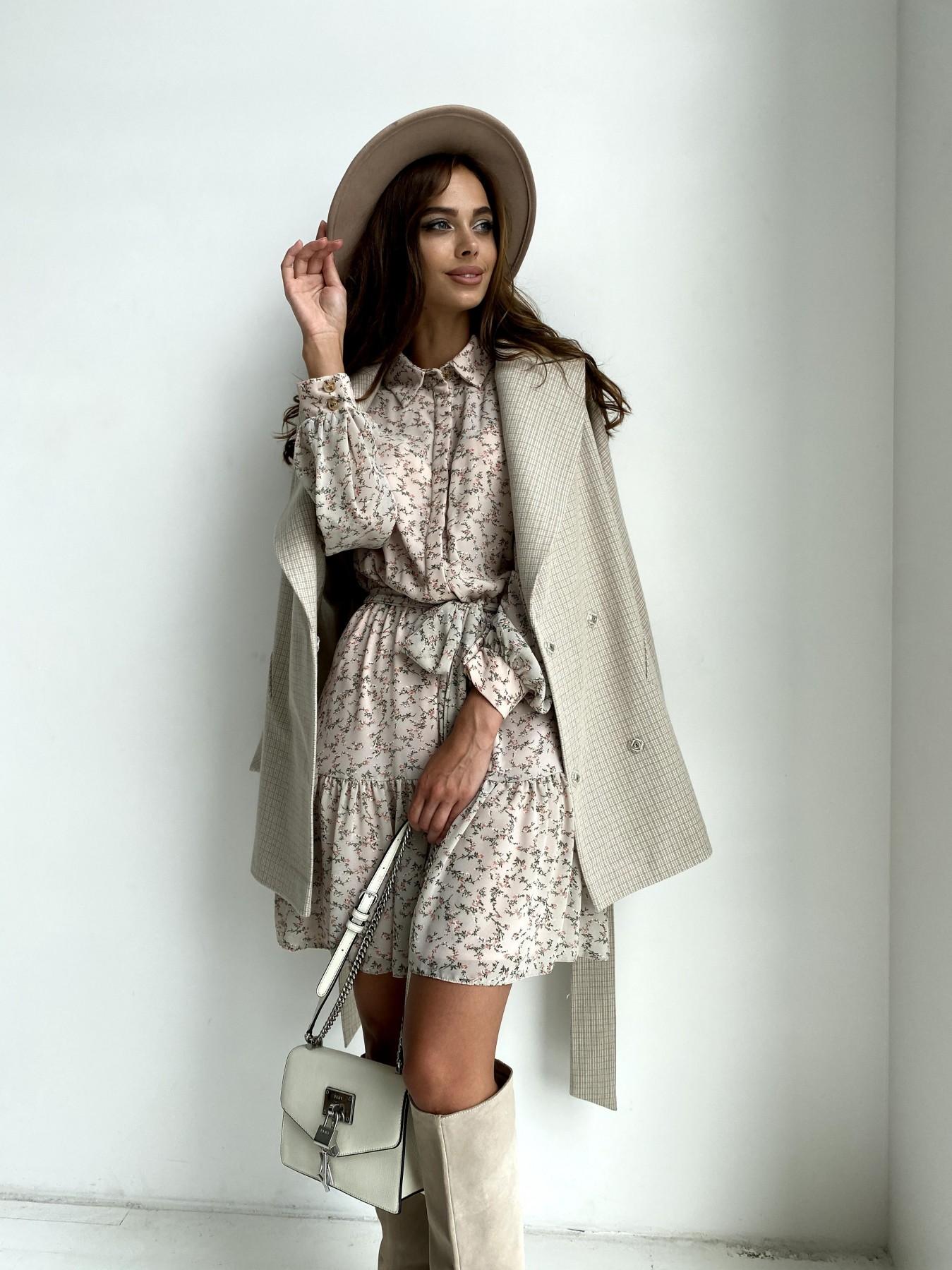 Дефиле пальто из тонкого кашемира 11745 АРТ. 48439 Цвет: Бежевый/молоко/КлМелкая - фото 1, интернет магазин tm-modus.ru