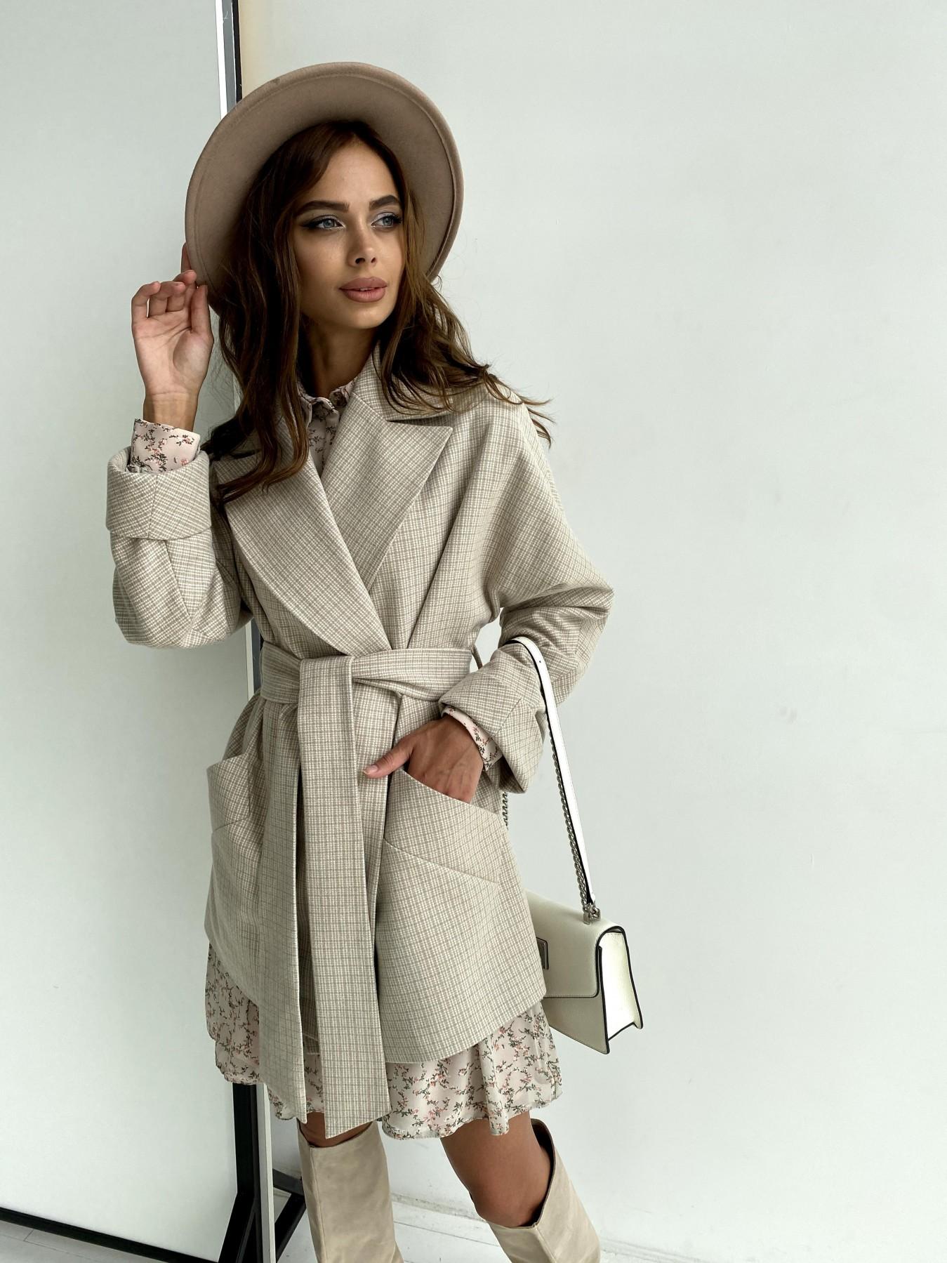 Дефиле пальто из тонкого кашемира 11745 АРТ. 48439 Цвет: Бежевый/молоко/КлМелкая - фото 6, интернет магазин tm-modus.ru