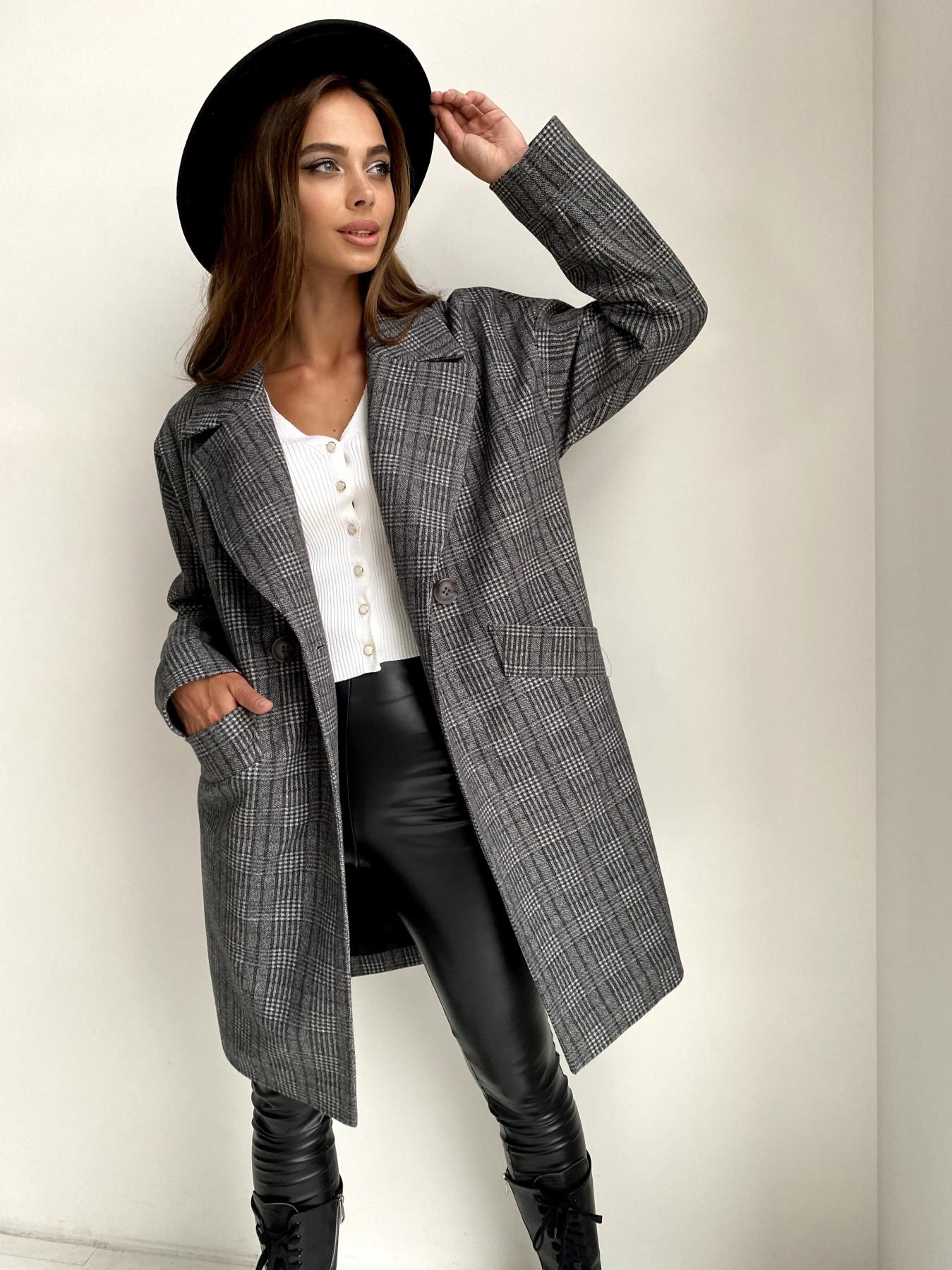 Сенсей пальто в клетку из тонкого кашемира 11754 АРТ. 48496 Цвет: Черный/СвСерый/КлетКом - фото 2, интернет магазин tm-modus.ru