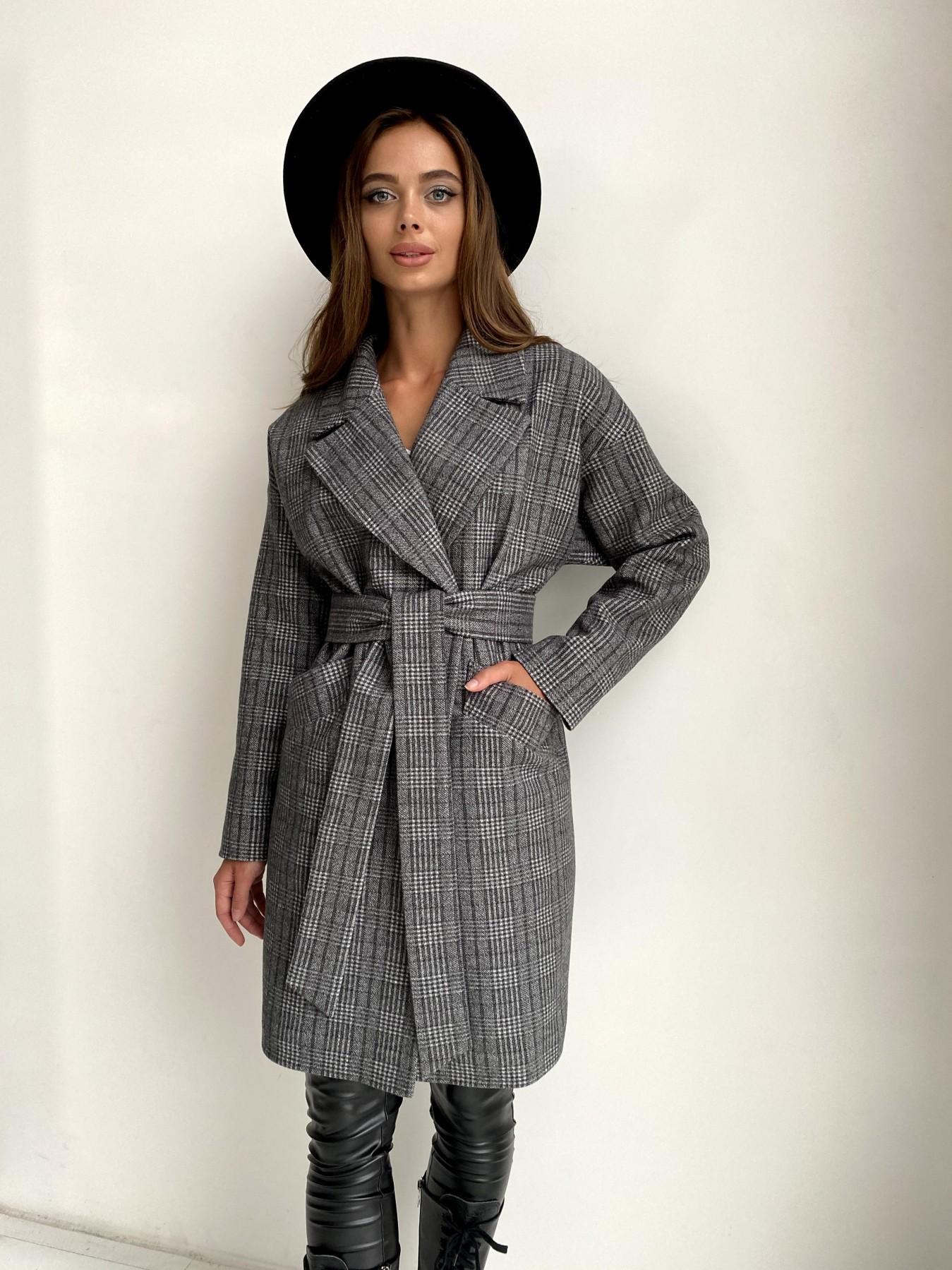 Сенсей пальто в клетку из тонкого кашемира 11754 АРТ. 48496 Цвет: Черный/СвСерый/КлетКом - фото 4, интернет магазин tm-modus.ru