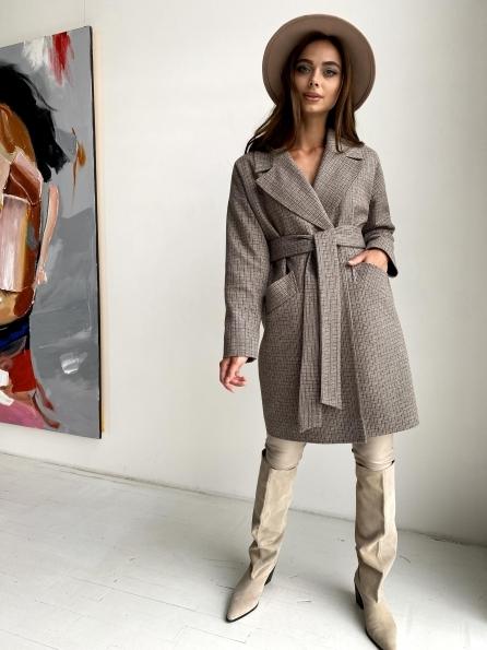 """Купить """"Сенсей"""" пальто в клетку из тонкого кашемира 11754 оптом и в розницу"""