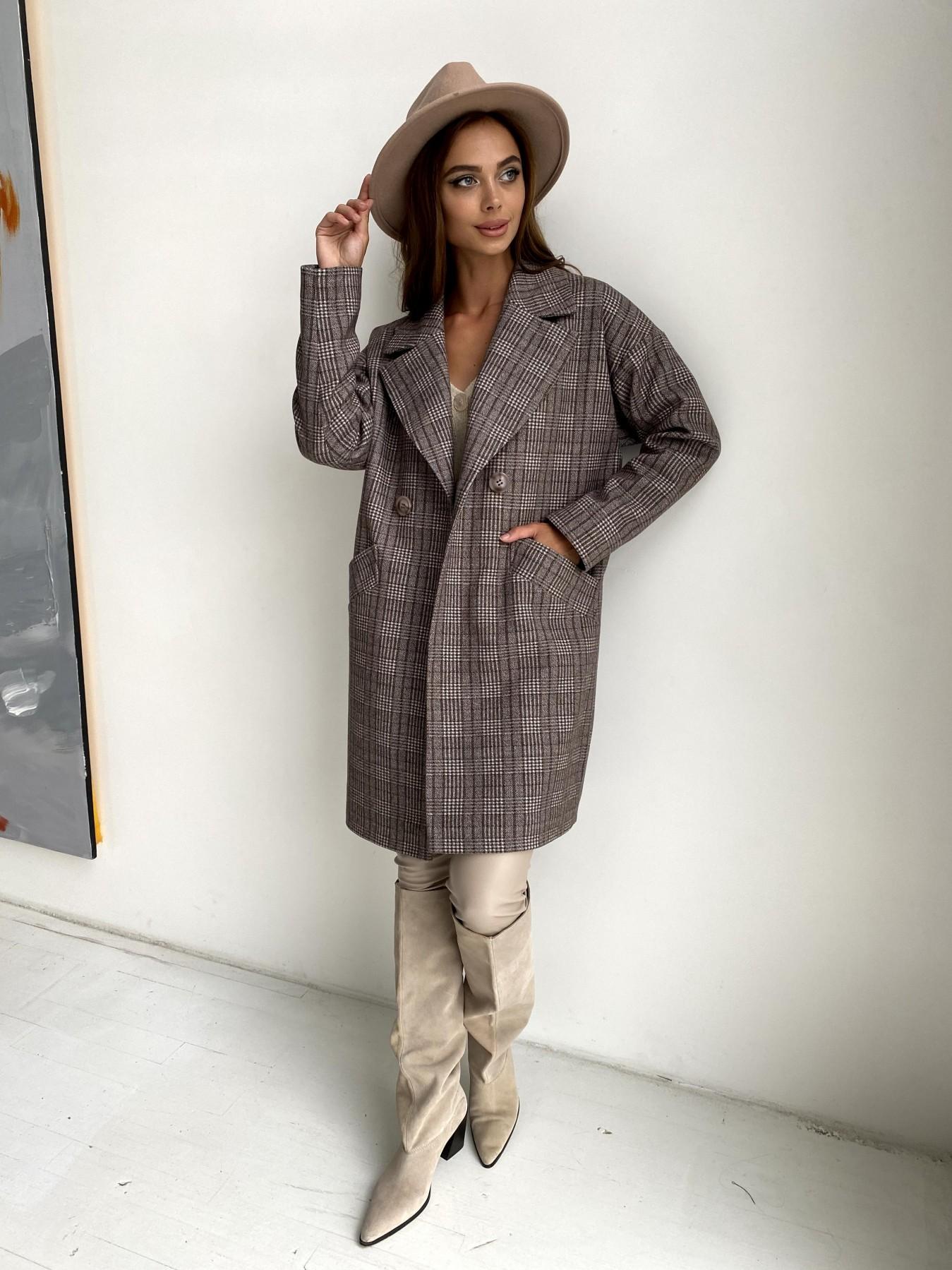 Сенсей пальто в клетку из тонкого кашемира 11754 АРТ. 48495 Цвет: Кофе/Молоко/КлетКомб - фото 4, интернет магазин tm-modus.ru