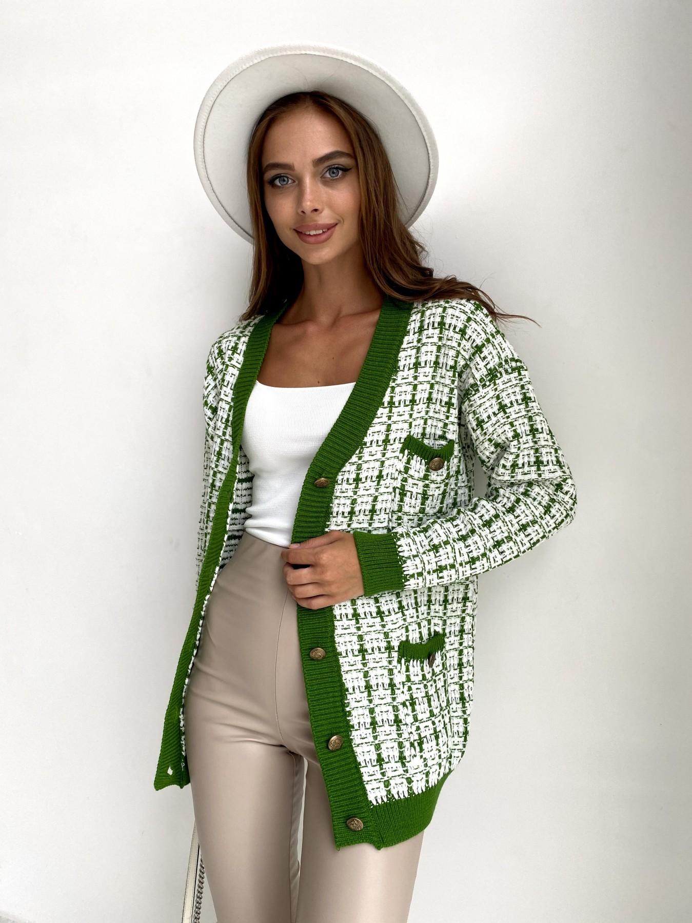 Кардиган 91022 АРТ. 48487 Цвет: Белый/Зеленый - фото 2, интернет магазин tm-modus.ru