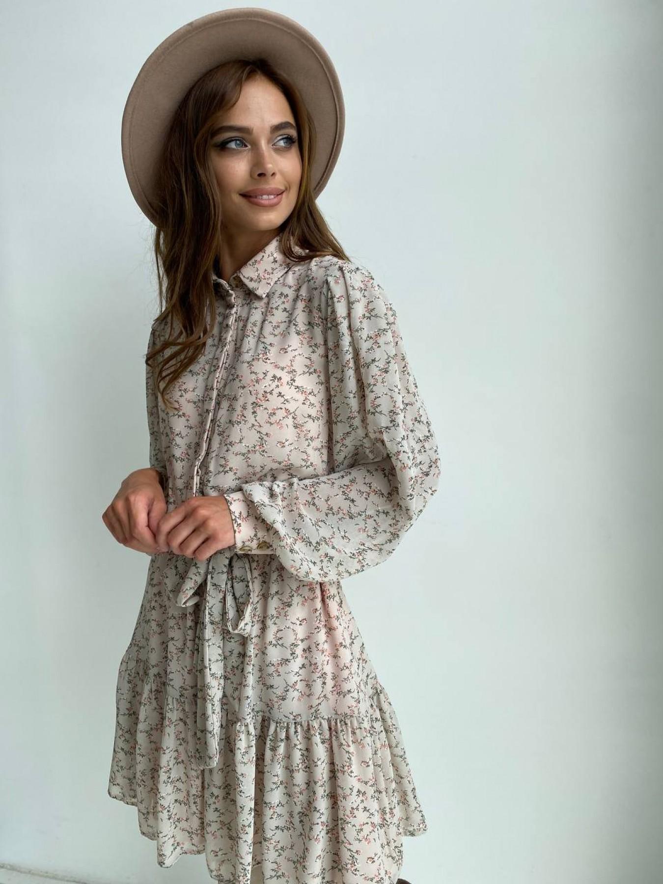 Молизе платье из шифона длиной мини с длинным рукавом в цветочной расцветке 11683 АРТ. 48412 Цвет: Бежевый/букетики - фото 1, интернет магазин tm-modus.ru