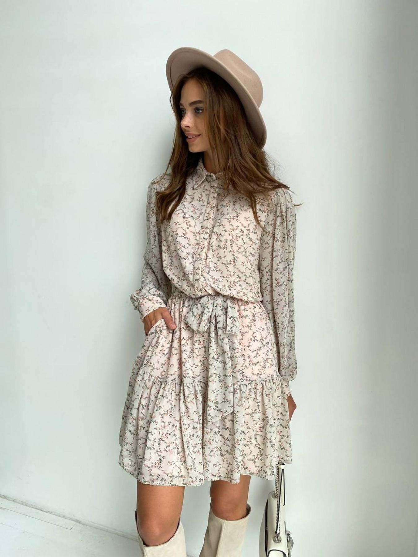 Молизе платье из шифона длиной мини с длинным рукавом в цветочной расцветке 11683 АРТ. 48412 Цвет: Бежевый/букетики - фото 2, интернет магазин tm-modus.ru