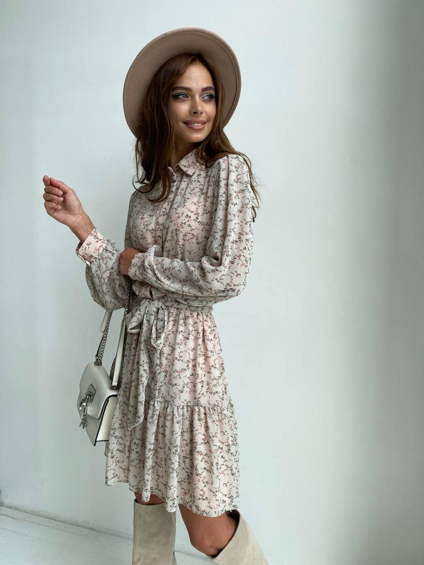Платье в интернет магазине Молизе платье из шифона длиной мини с длинным рукавом в цветочной расцветке 11683
