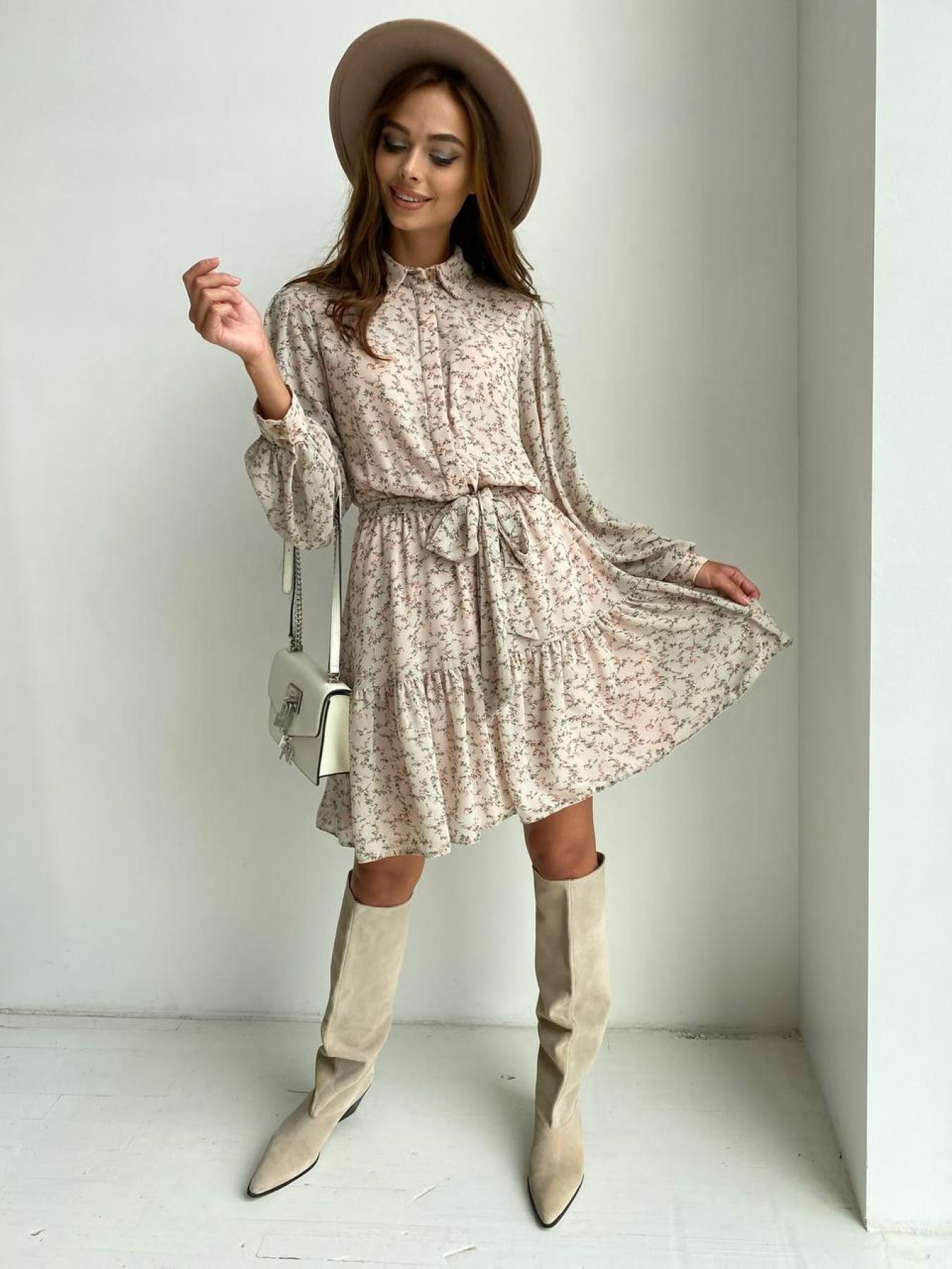 Молизе платье из шифона длиной мини с длинным рукавом в цветочной расцветке 11683 АРТ. 48412 Цвет: Бежевый/букетики - фото 5, интернет магазин tm-modus.ru