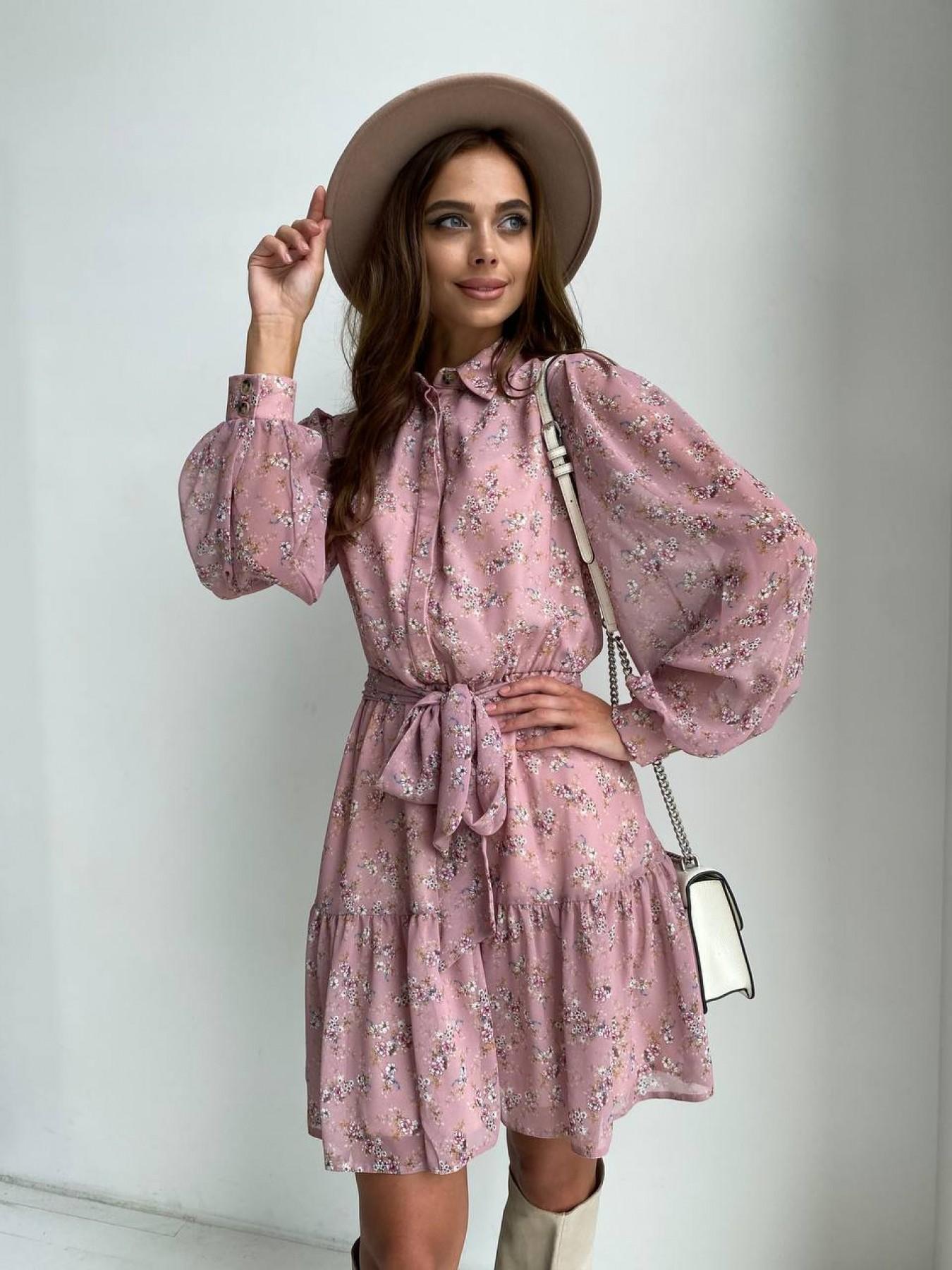 Трикотажные платья оптом Молизе платье из шифона длиной мини с длинным рукавом в цветочной расцветке 11683