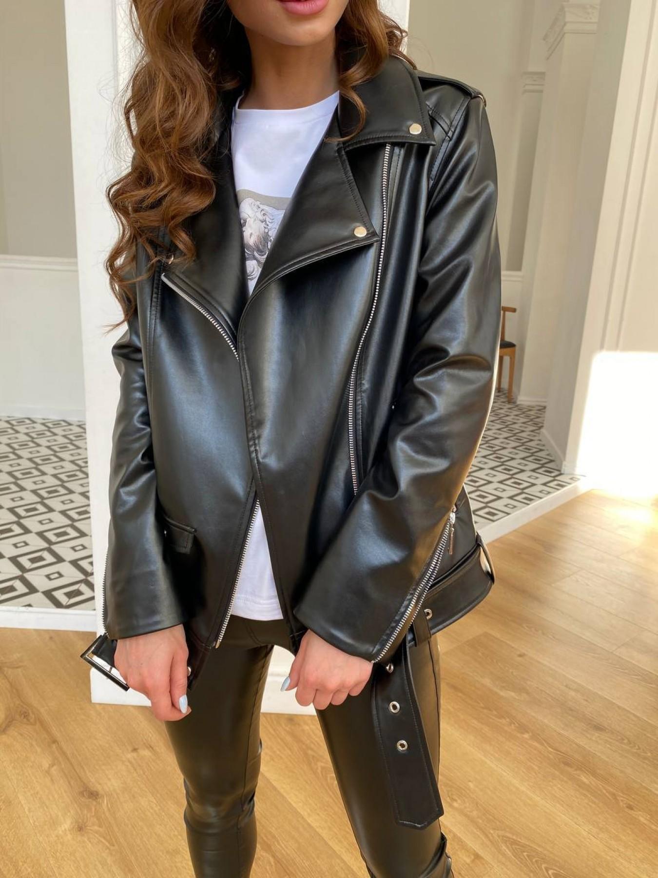 Босс куртка из экокожи прокатанной  11173 АРТ. 47668 Цвет: Черный - фото 3, интернет магазин tm-modus.ru
