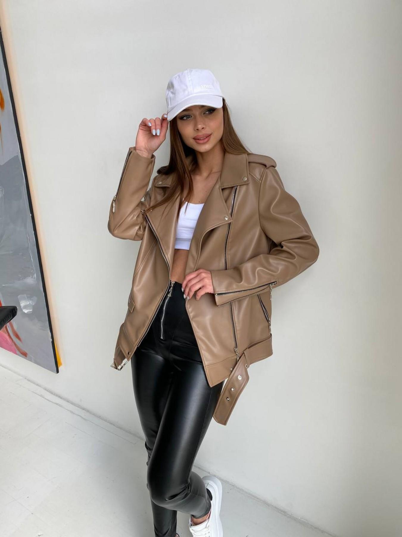 Босс куртка из экокожи прокатанной  11173 АРТ. 47788 Цвет: Бежевый Темный - фото 2, интернет магазин tm-modus.ru