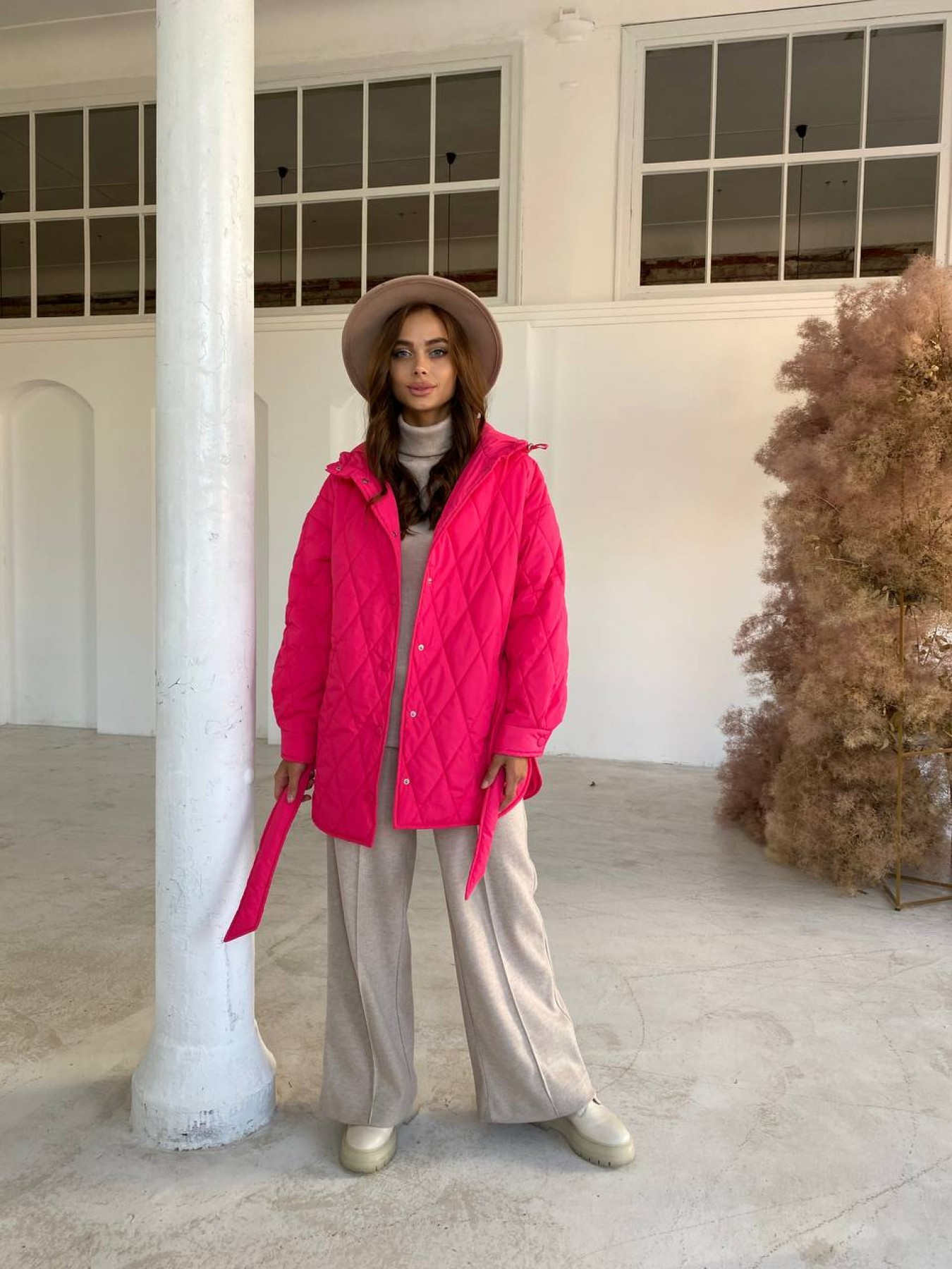 Пазл стеганая куртка из плащевки 11764 АРТ. 48504 Цвет: Малина - фото 1, интернет магазин tm-modus.ru