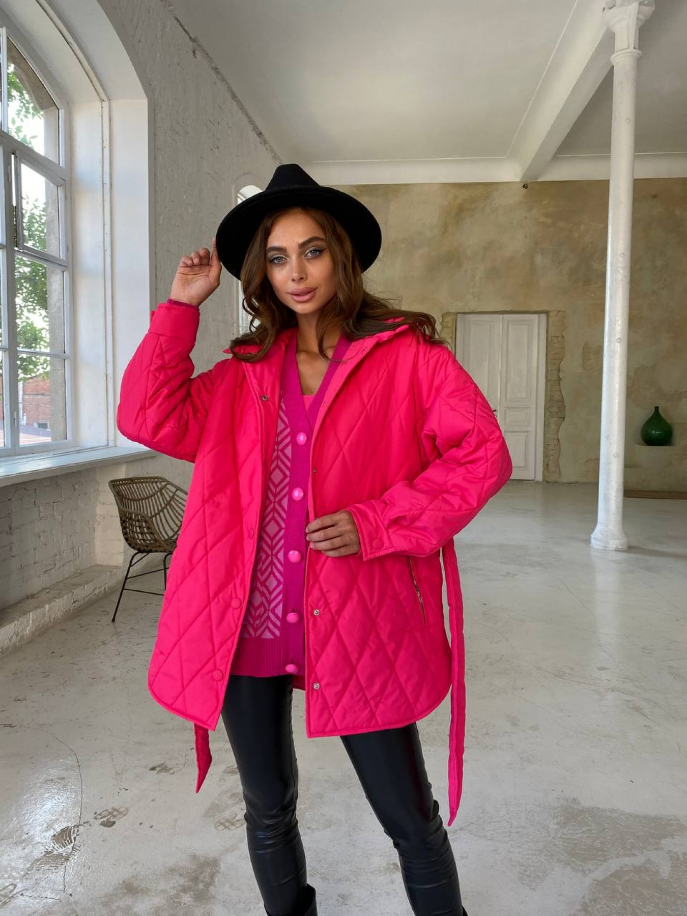Пазл стеганая куртка из плащевки 11764 АРТ. 48504 Цвет: Малина - фото 9, интернет магазин tm-modus.ru