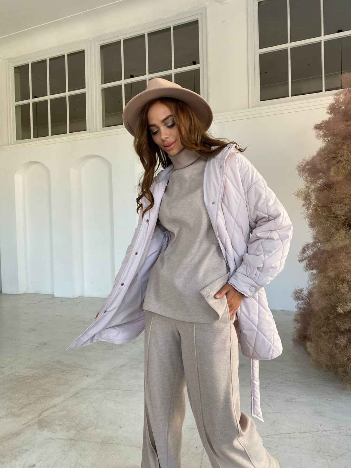 Пазл стеганая куртка из плащевки 10890 АРТ. 47355 Цвет: Бежевый 970 - фото 5, интернет магазин tm-modus.ru
