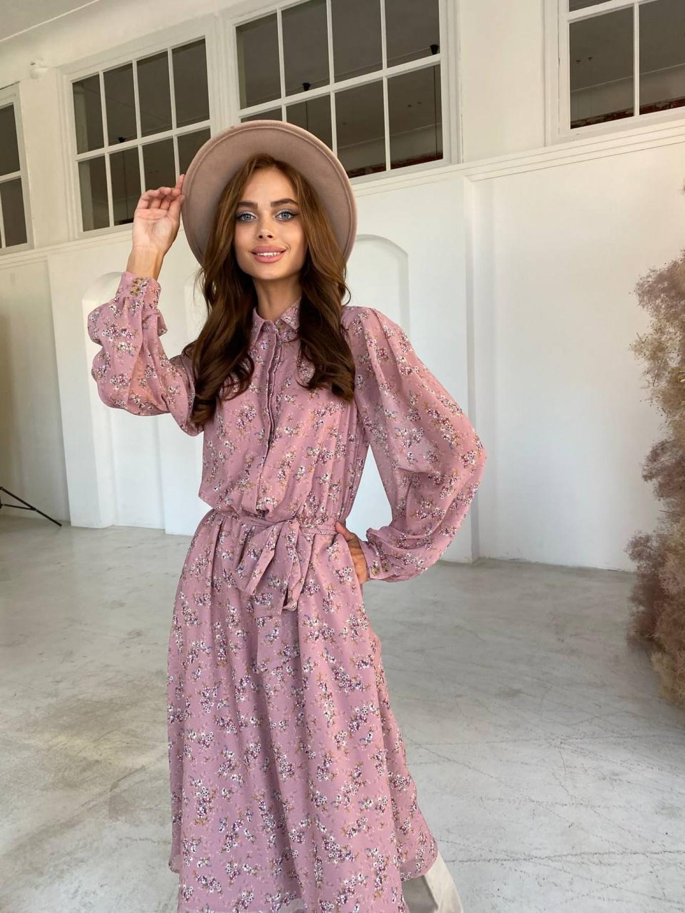 Купить платья оптом в Украине от Modus Жасмин платье из  шифона микро принт с длинным рукавом не стрейч 11685