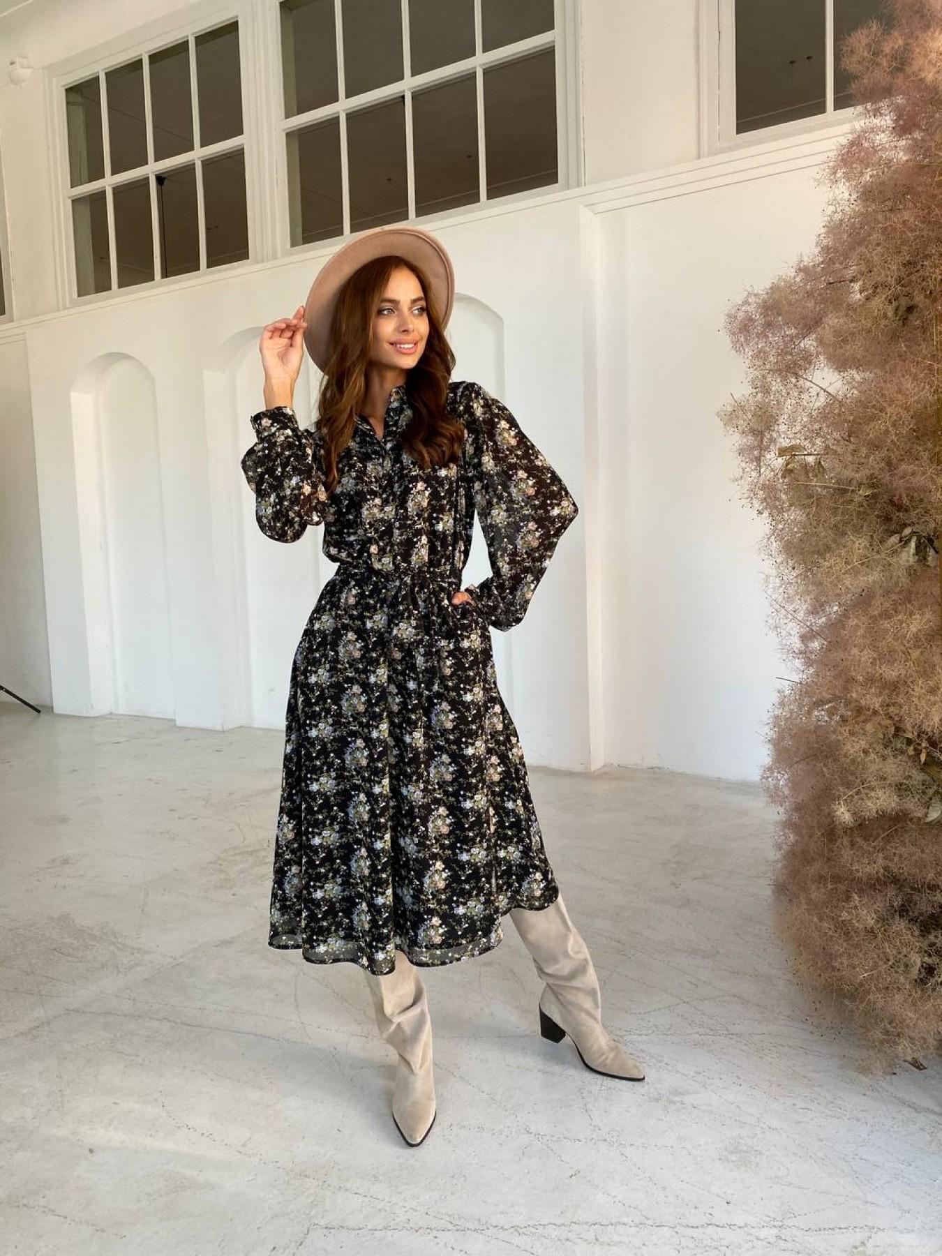 Жасмин платье из  шифона микро принт с длинным рукавом не стрейч 11685  АРТ. 48424 Цвет: Черный/беж/голубой/БукетЦв - фото 5, интернет магазин tm-modus.ru