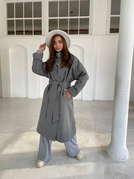 """Купить """"Кейтлин"""" пальто из кашемира в клетку 11797 оптом и в розницу"""