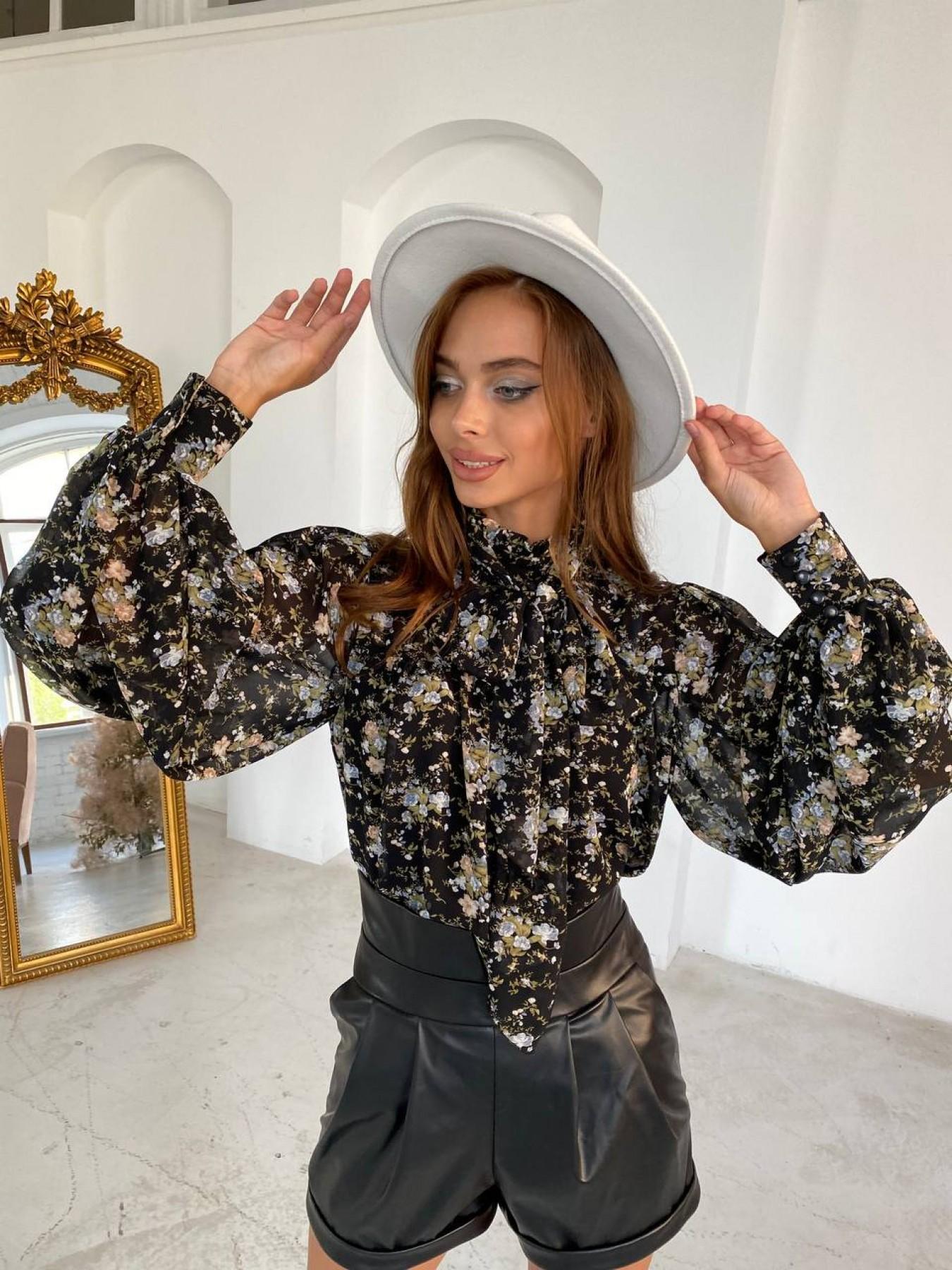 Аметист д/р шифон принт блуза 11724 АРТ. 48425 Цвет: Черный/ЦветыМелБукет - фото 3, интернет магазин tm-modus.ru