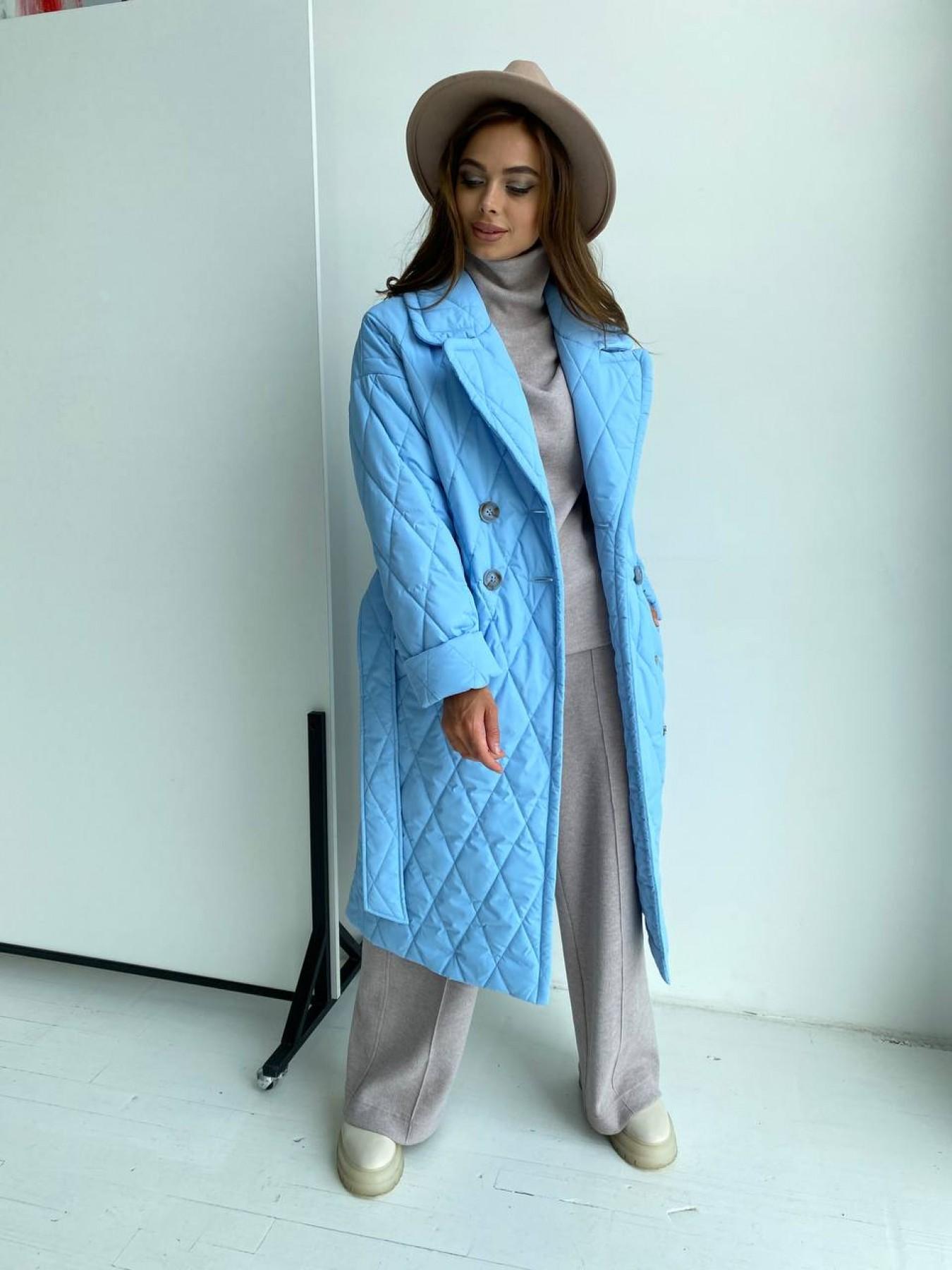 Хаски пальто из стеганой плащевки в ромб 11697 АРТ. 48491 Цвет: Голубой - фото 2, интернет магазин tm-modus.ru