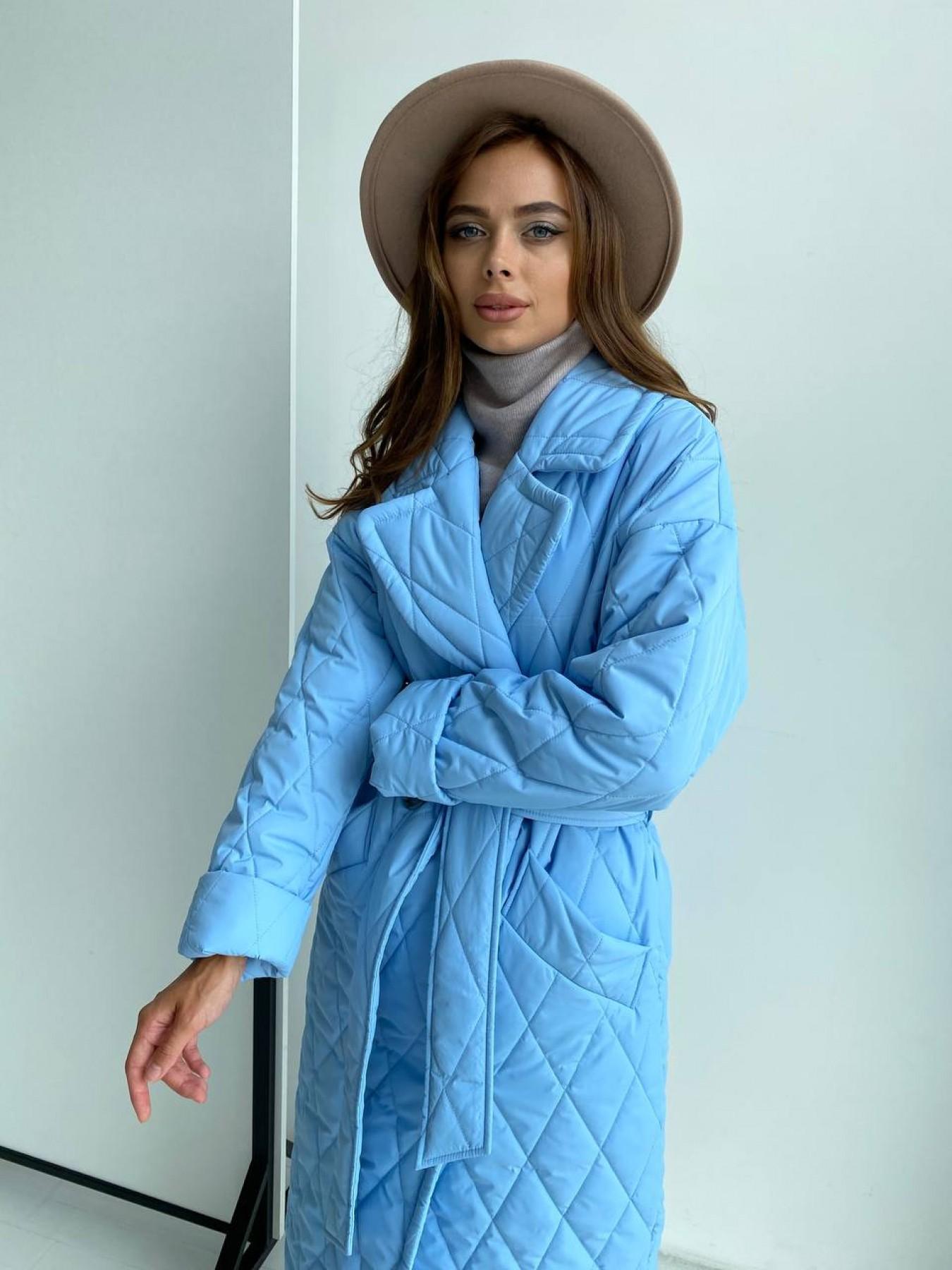 Хаски пальто из стеганой плащевки в ромб 11697 АРТ. 48491 Цвет: Голубой - фото 3, интернет магазин tm-modus.ru