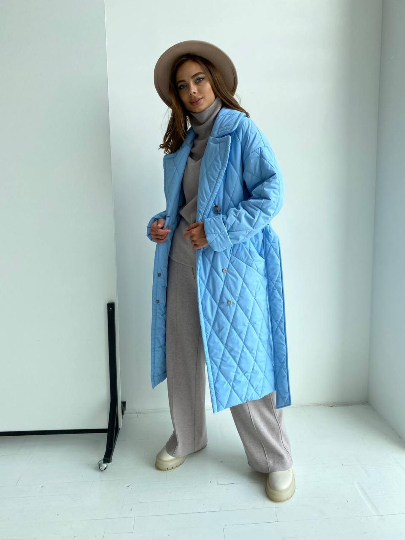 Хаски пальто из стеганой плащевки в ромб 11697 АРТ. 48491 Цвет: Голубой - фото 5, интернет магазин tm-modus.ru