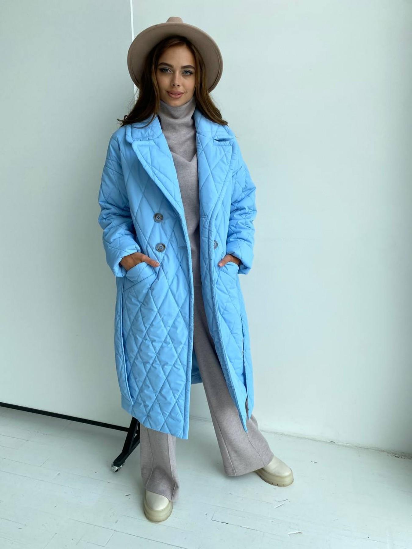 Хаски пальто из стеганой плащевки в ромб 11697 АРТ. 48491 Цвет: Голубой - фото 7, интернет магазин tm-modus.ru