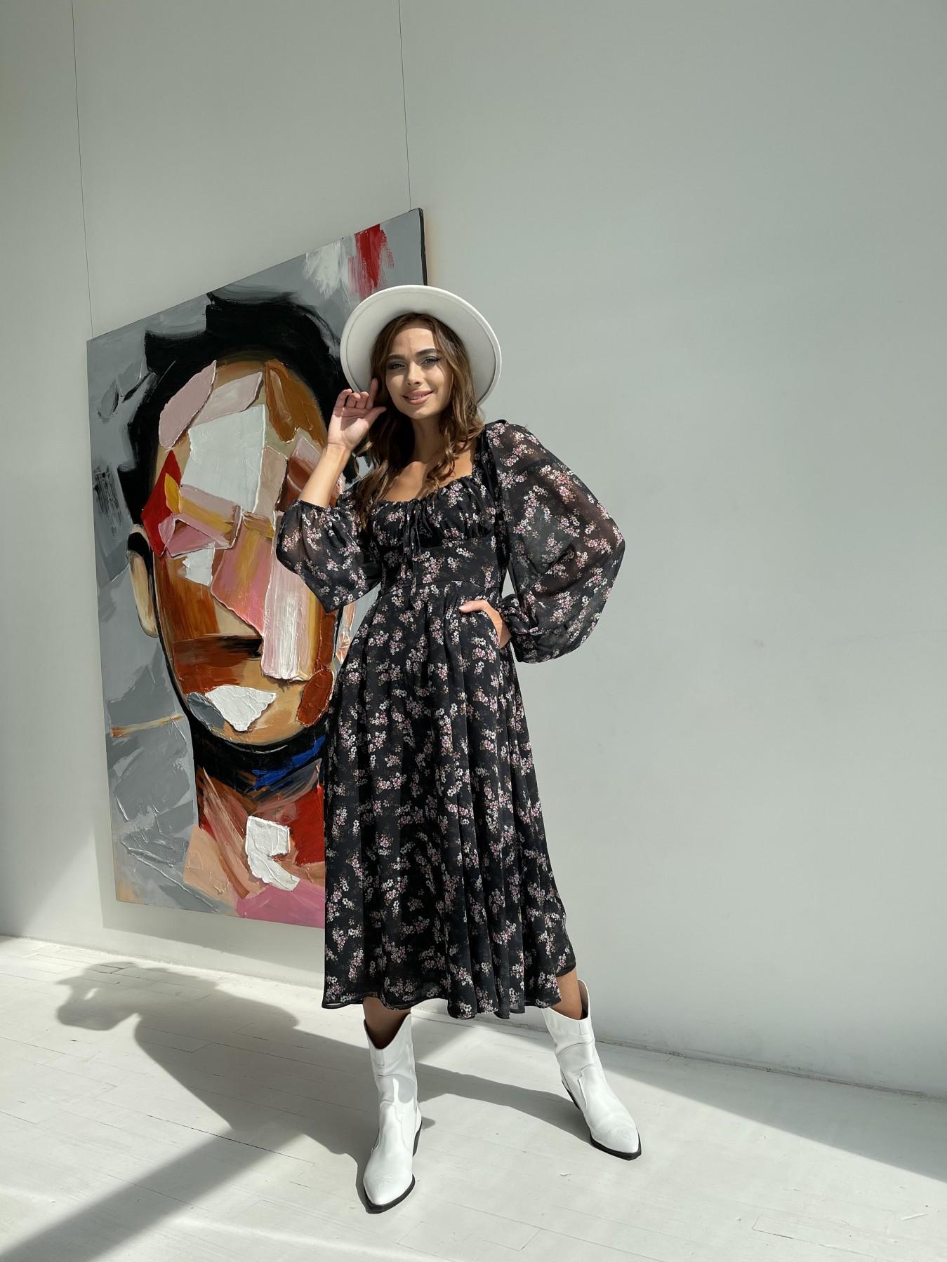Кисес платье из шифона с цветочным принтом 11774 АРТ. 48549 Цвет: Черный/ЦветыМелБукет - фото 2, интернет магазин tm-modus.ru