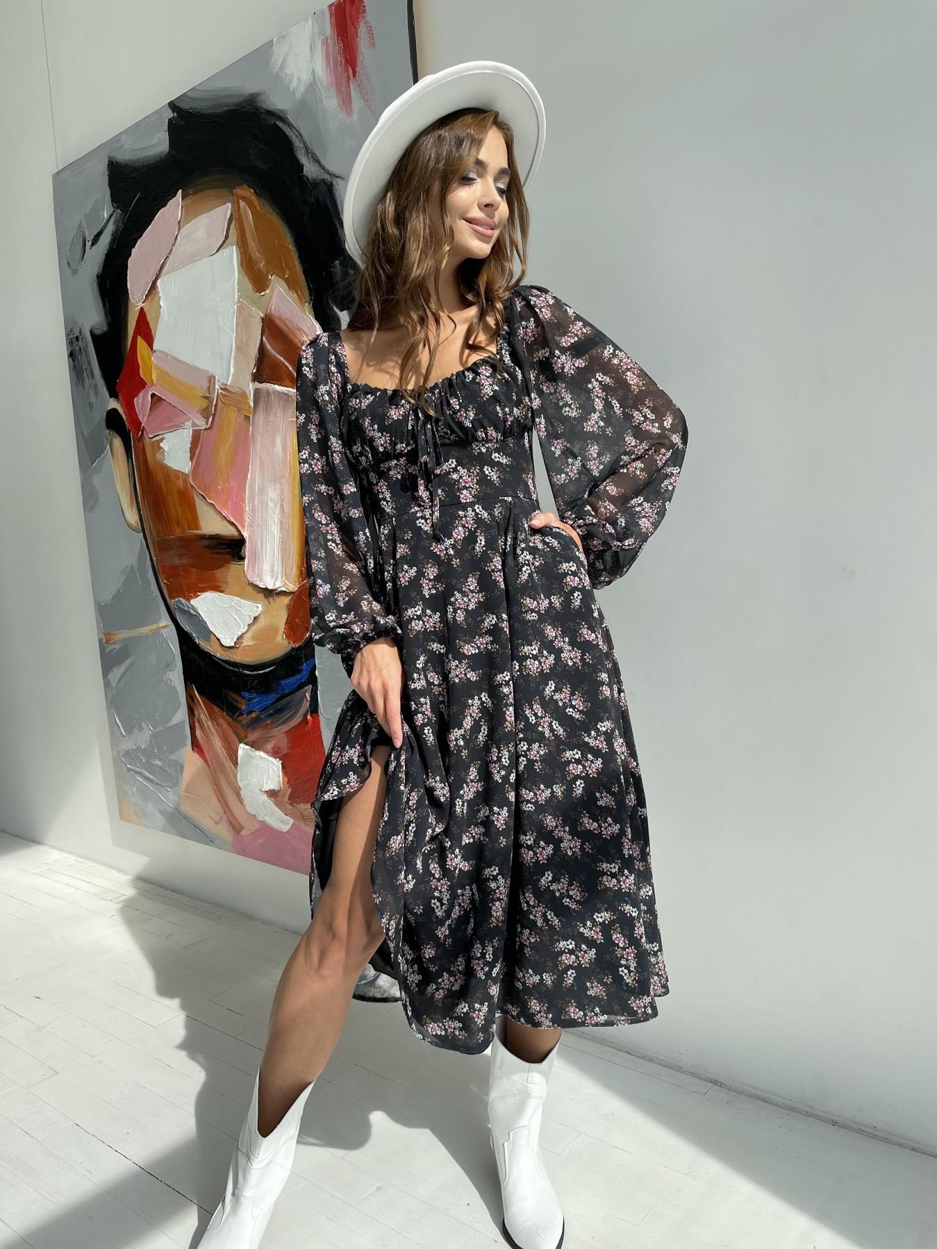 Кисес платье из шифона с цветочным принтом 11774 АРТ. 48549 Цвет: Черный/ЦветыМелБукет - фото 3, интернет магазин tm-modus.ru