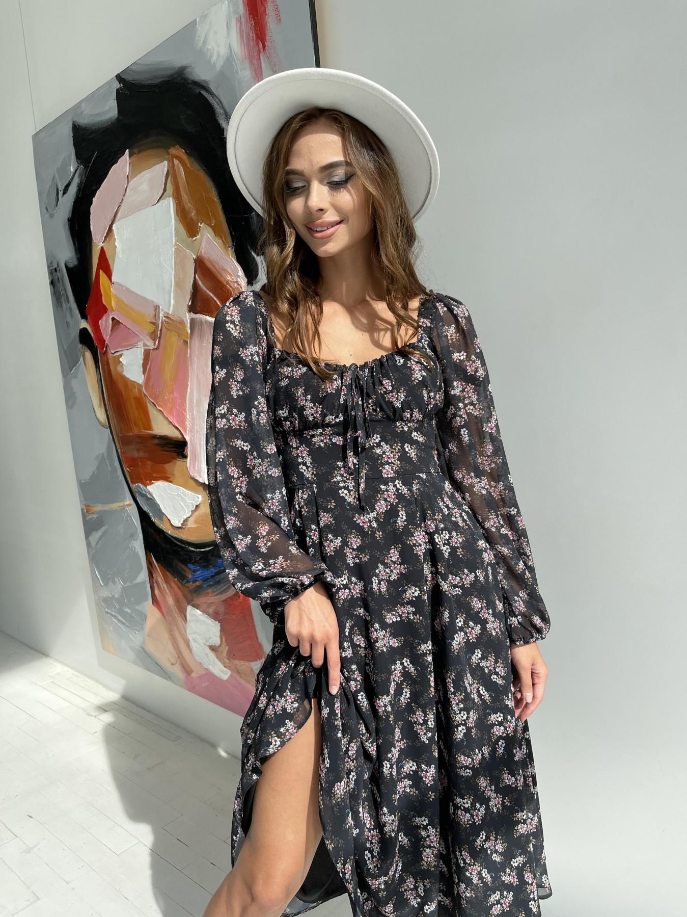 Кисес платье из шифона с цветочным принтом 11774 АРТ. 48549 Цвет: Черный/ЦветыМелБукет - фото 4, интернет магазин tm-modus.ru