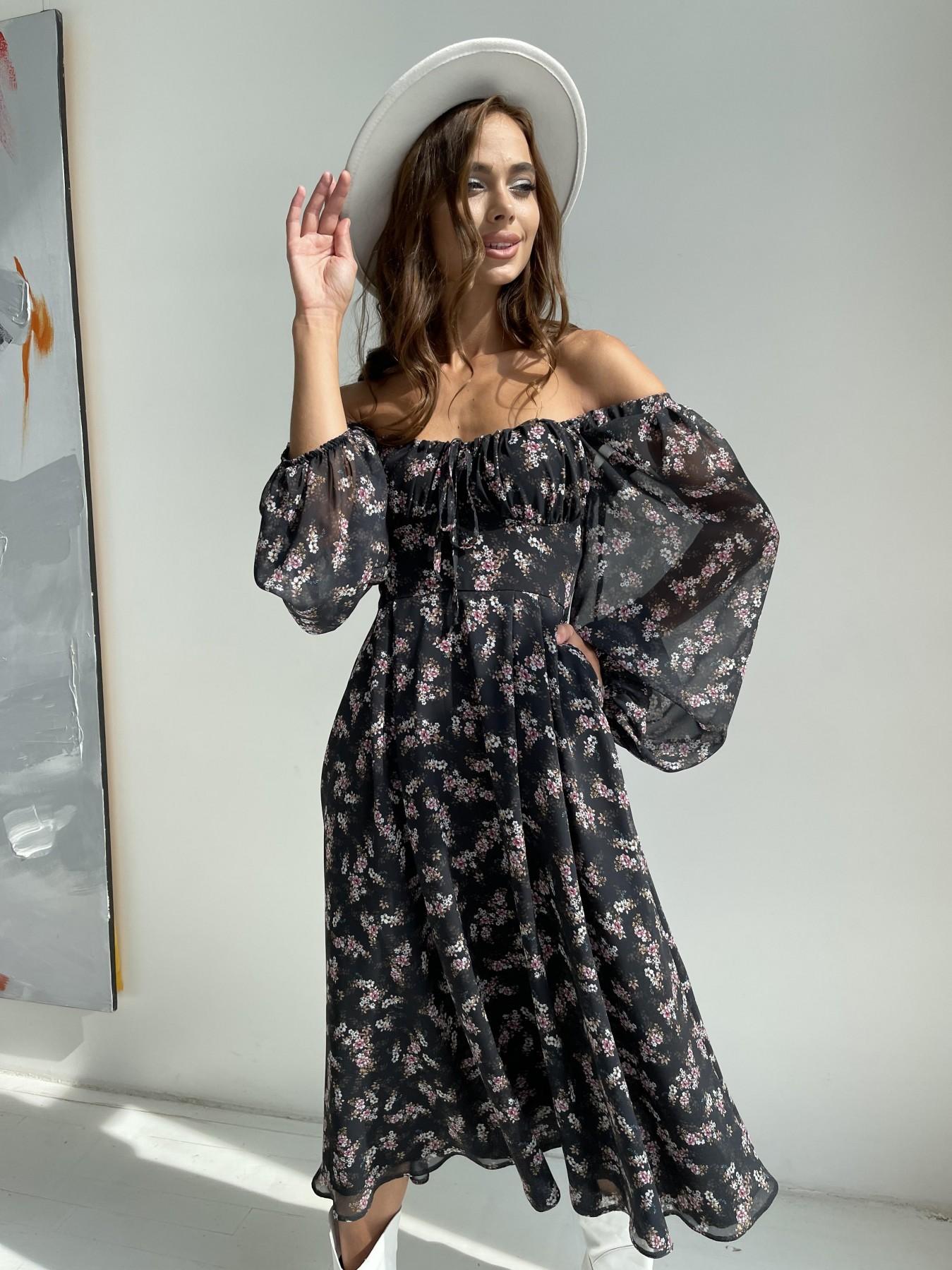 Кисес платье из шифона с цветочным принтом 11774 АРТ. 48549 Цвет: Черный/ЦветыМелБукет - фото 5, интернет магазин tm-modus.ru