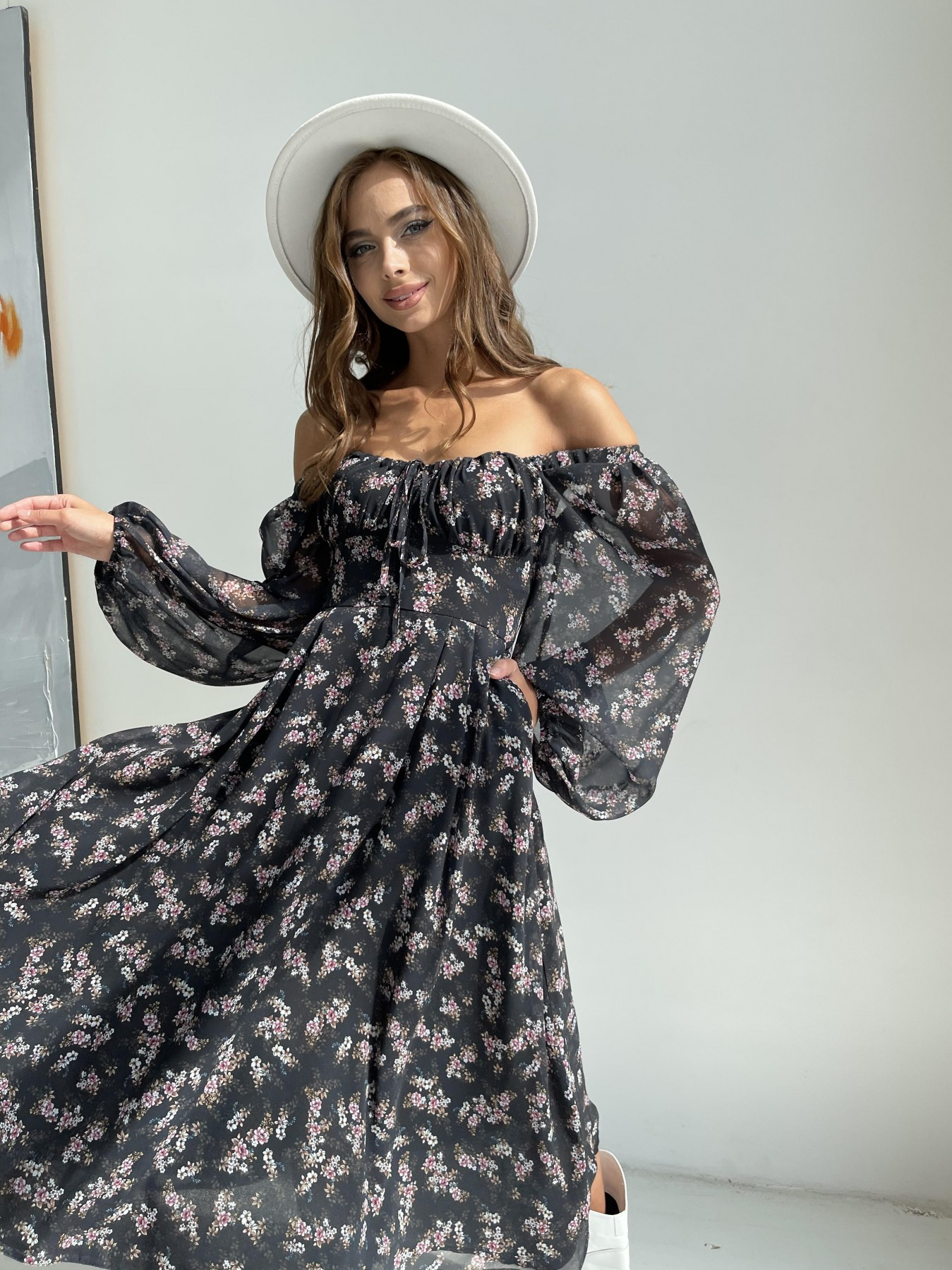 Кисес платье из шифона с цветочным принтом 11774 АРТ. 48549 Цвет: Черный/ЦветыМелБукет - фото 6, интернет магазин tm-modus.ru