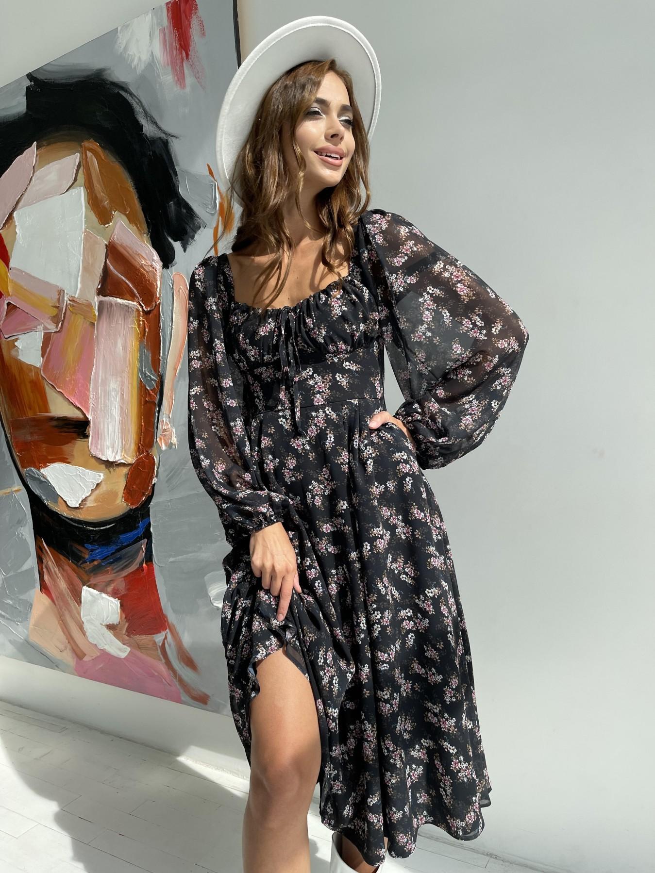 Купить платья оптом Украина Кисес платье из шифона с цветочным принтом 11774