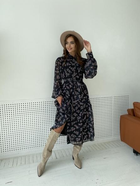 """Купить """"Патессери"""" платье из шифона с цветочным принтом 11750 оптом и в розницу"""
