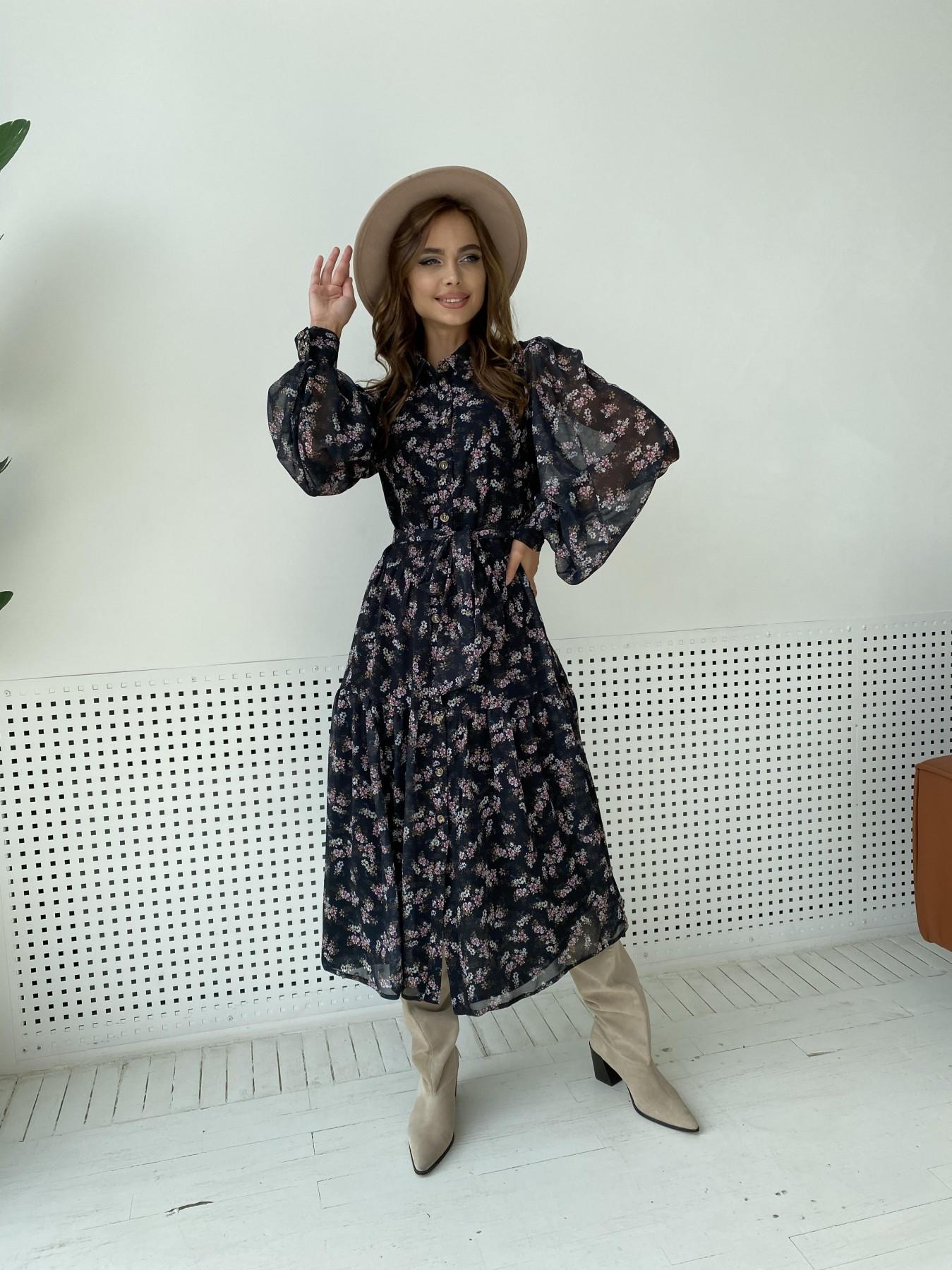 Патессери платье из шифона с цветочным принтом 11750 АРТ. 48547 Цвет: Черный/ЦветыМелБукет - фото 2, интернет магазин tm-modus.ru
