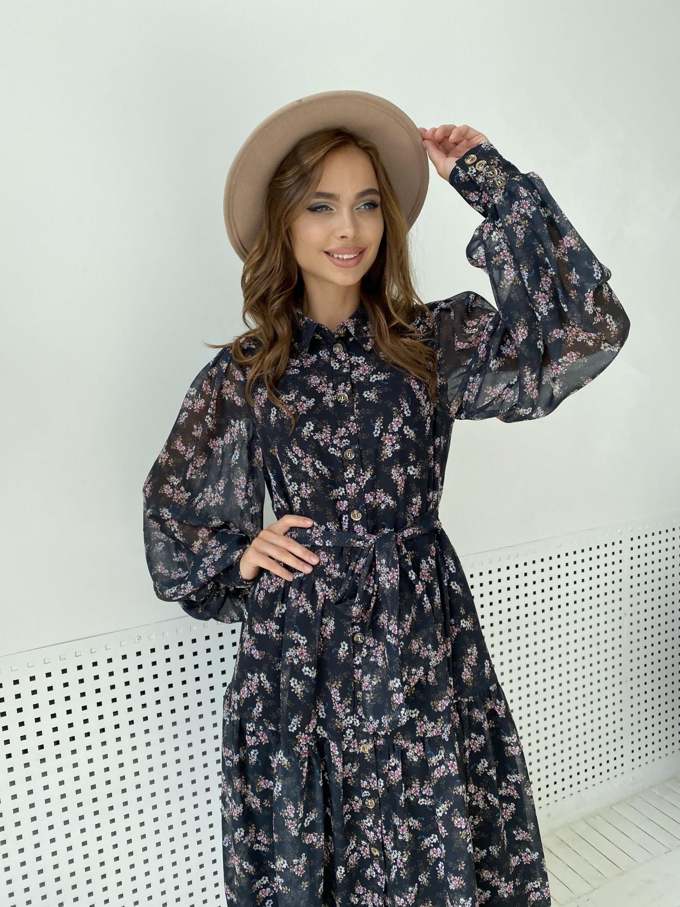 Патессери платье из шифона с цветочным принтом 11750 АРТ. 48547 Цвет: Черный/ЦветыМелБукет - фото 3, интернет магазин tm-modus.ru